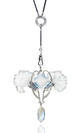 AN ART NOUVEAU MOONSTONE, DIAMOND, ENAMEL AND GLASS PENDANT,