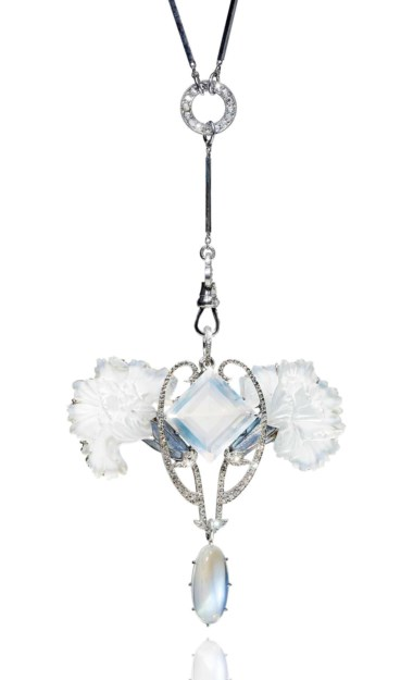 An Art Nouveau moonstone, diamond, enamel and glass pendant, by René Lalique. Estimate CHF 45,000-65,000. This lot is offered in Beyond Boundaries Magnificent Jewels from a European Collection on 13 November 2017  at Christie's in Geneva