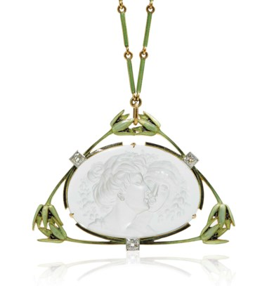 An Art Nouveau rock crystal, diamond and enamel The Kiss pendant necklace, by René Lalique, circa 1905. This lot was offered in Beyond Boundaries Magnificent Jewels from a European Collection on 13 November 2017 at Christie's in Geneva and sold for CHF 237,500