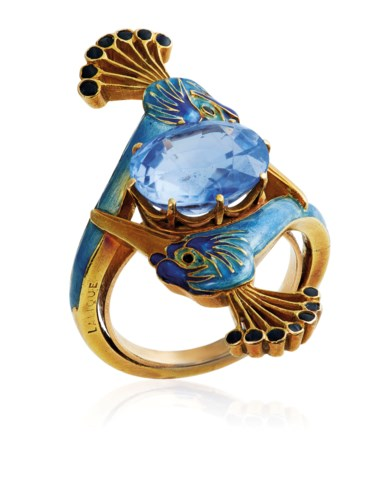 An Art Nouveau sapphire and enamel ring, by René Lalique. This lot was offered in Beyond Boundaries Magnificent Jewels from a European Collection on 13 November 2017 at Christie's in Geneva and sold for CHF 162,500