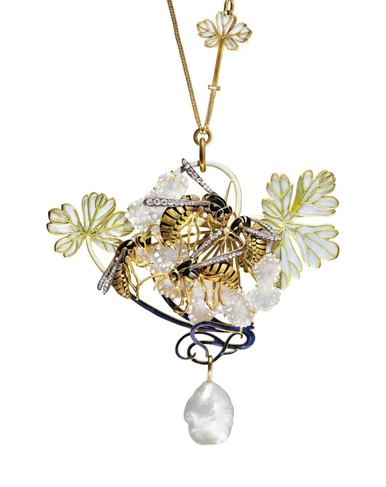 An Art Nouveau enamel, diamond and pearl pendent necklace, by René Lalique. Depicting four gold and enamel wasps with diamond wings, set on a window enamel and opalescent glass hawthorn branch, suspending a baroque pearl, to the chain set with two window enamel leaves, 1899-1901, pendant 9.5 cm, necklace 51 cm, with French assay marks for gold. Sold for CHF 972,500 on 13 November 2017  at