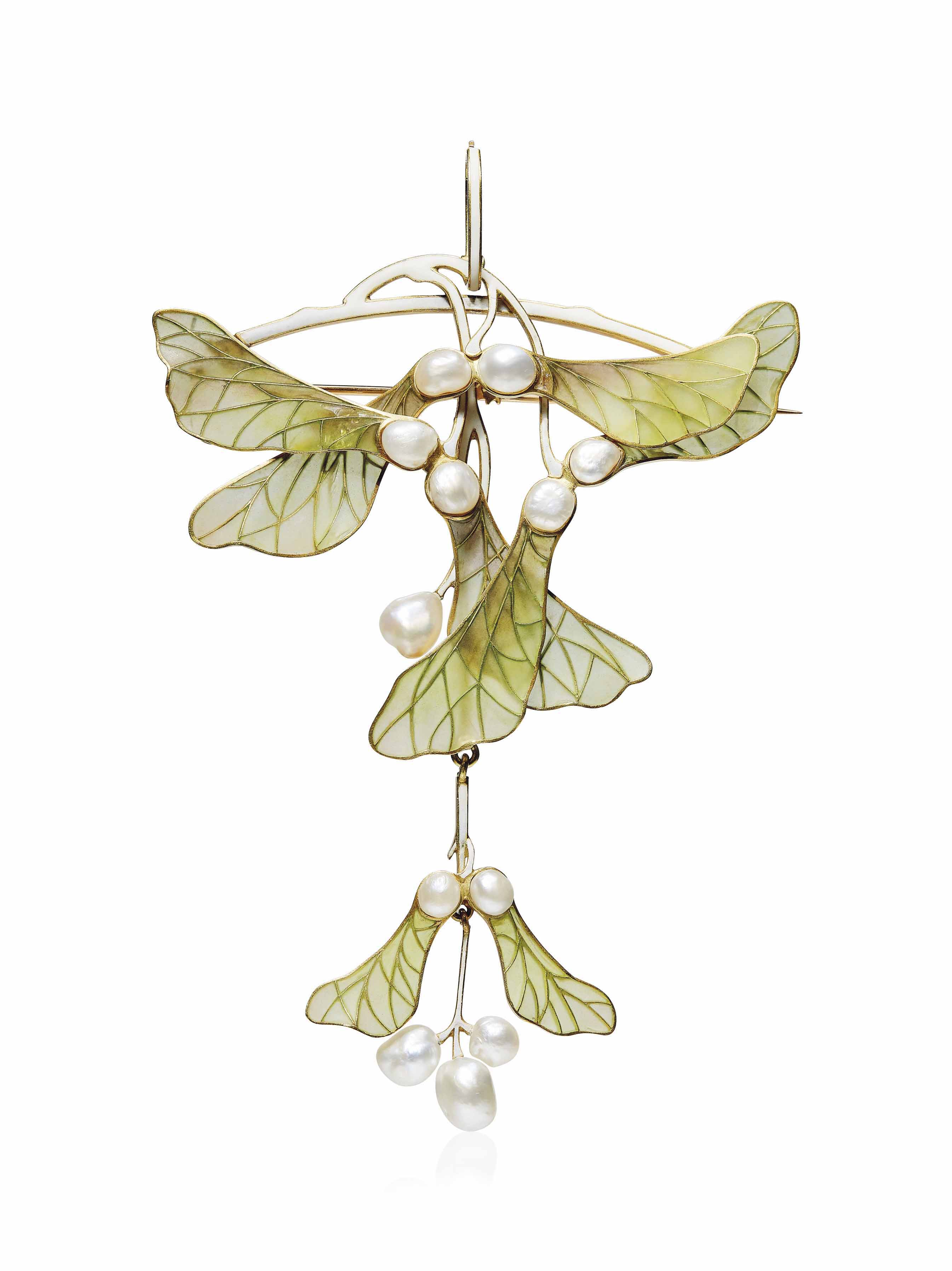 AN ART NOUVEAU ENAMEL AND PEARL PENDANT/BROOCH, BY HENRI VEVER