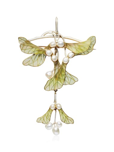 An Art Nouveau enamel and pearl pendantbrooch, by Henri Vever, circa 1900. This lot was offered in Beyond Boundaries Magnificent Jewels from a European Collection on 13 November 2017 at Christie's in Geneva and sold for CHF 100,000