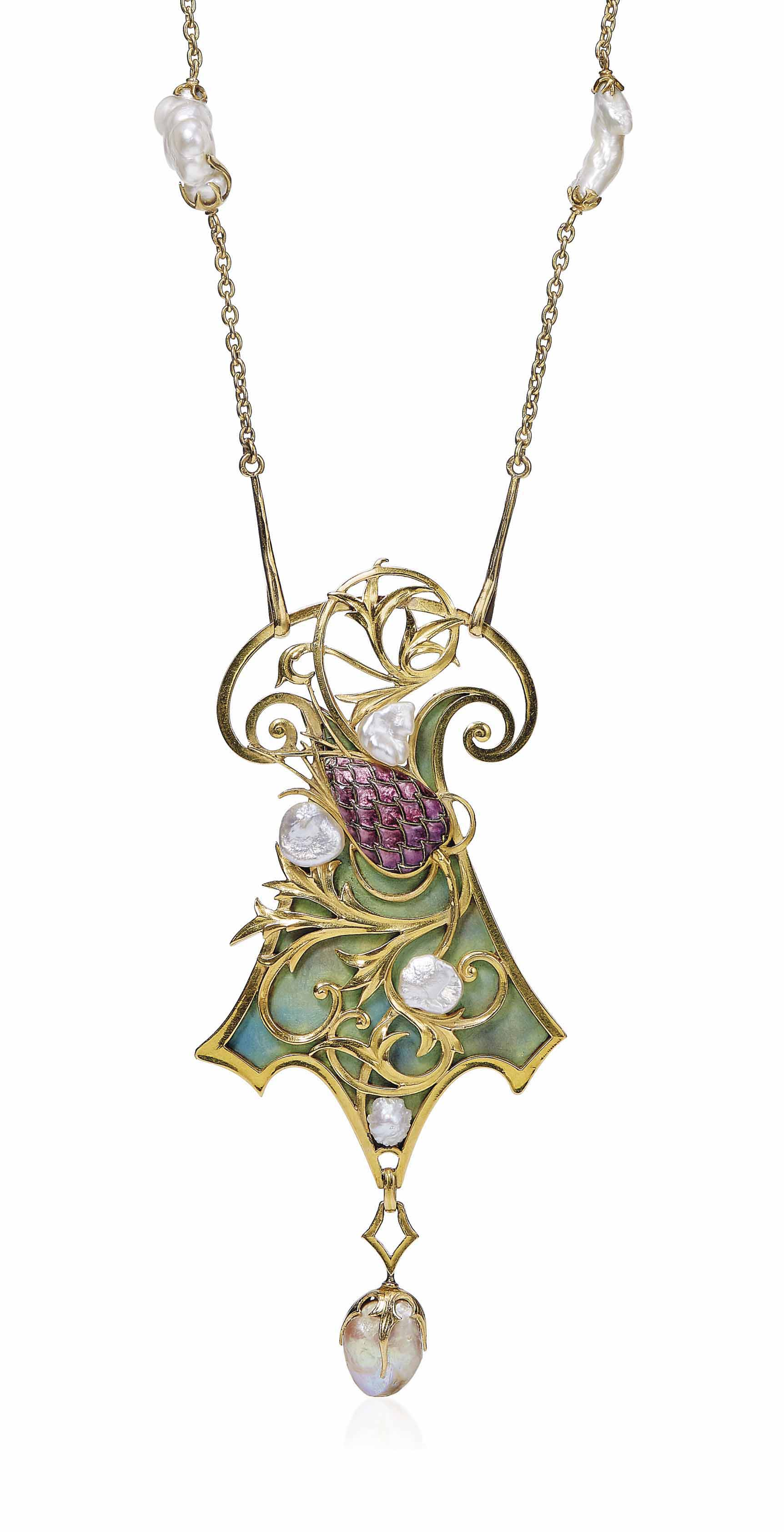 AN ART NOUVEAU ENAMEL AND PEARL PENDENT NECKLACE, BY GEORGES FOUQUET
