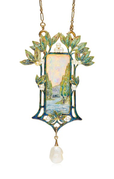 An Art Nouveau opal, enamel and pearl pendant necklace, by Georges Fouquet, circa 1900. This lot was offered in Beyond Boundaries Magnificent Jewels from a European Collection on 13 November 2017 at Christie's in Geneva and sold for CHF 300,000