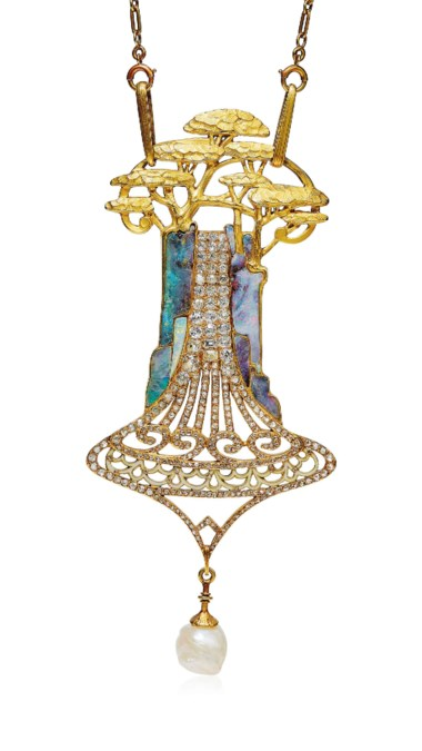 An Art Nouveau opal, diamond and enamel cedars pendant necklace, by Georges Fouquet, 1901. This lot was offered in Beyond Boundaries Magnificent Jewels from a European Collection on 13 November 2017 at Christie's in Geneva and sold for CHF 480,500