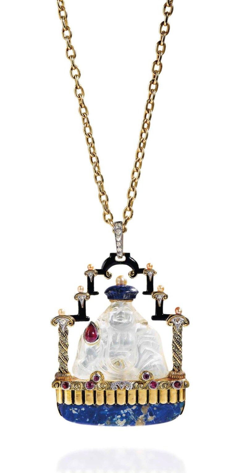 A sodalite, rock crystal, ruby, diamond and synthetic ruby pendant necklace. Estimate CHF4,500-6,500. This lot is offered in Beyond Boundaries Magnificent Jewels from a European Collection on 13 November 2017  at Christie's in Geneva