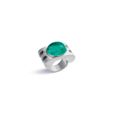 An emerald ring, by Jean Fouquet. Accompanied by report  no 92640 dated 7 June 2017 from the SSEF Swiss Gemmological Institute stating that the origin of the emerald is Colombia, with moderate amount of  oil. Estimate CHF 18,000-25,000. This lot is offered in Beyond Boundaries Magnificent Jewels from a European Collection on 13 November 2017  at Christie's in Geneva