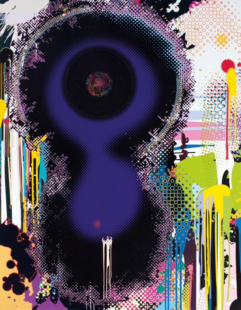 村上隆(日本,1962年生)《NGC 2 3 7 1 - 2 ( 雙子座星雲) 》,壓克力 鉑金箔 金箔 畫布。2009年作。300.6 x 224.7 x 6 公分(118¼ x 88½ x 2⅜ 吋 )。估價:6,000,000-10,000,000港元。此作品將亮相於佳士得香港於5月27日舉行的「融藝」晚間專拍。