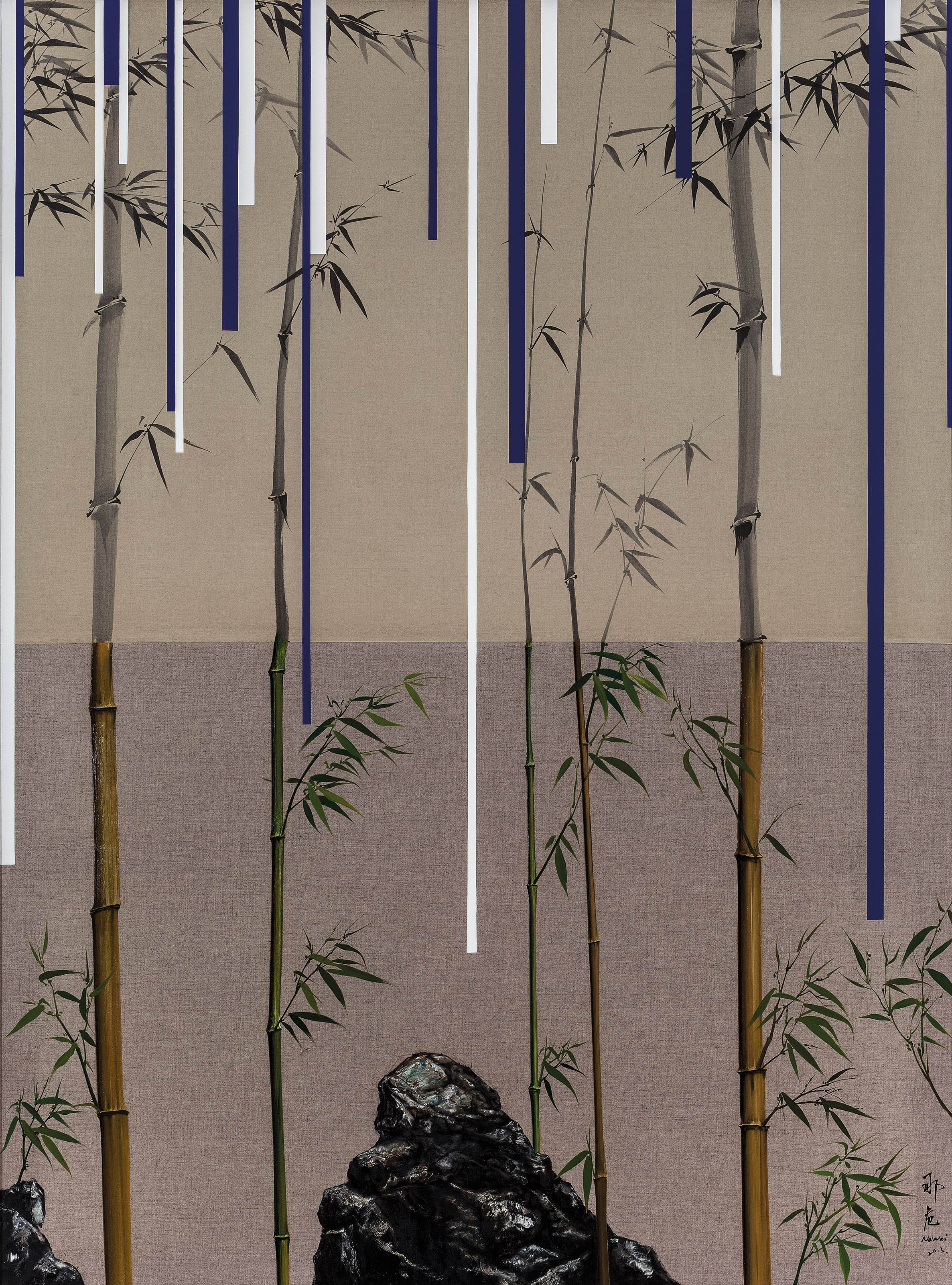SCENE OF BAMBOO AND STONE