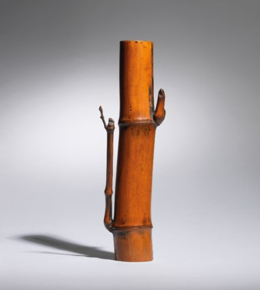 A dried-bamboo vase, Meiji-Taisho period, late 19th-early 20th century. 9¾  in (24.7  cm) high, Japanese wood box. This lot was offered in the Pavilion Sale on 2 October 2017 at Christie's in Hong Kong and sold for HKD 25,000