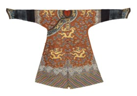A RARE CHESTNUT EMBROIDERED GAUZE DRAGON ROBE FOR AN IMPERIA
