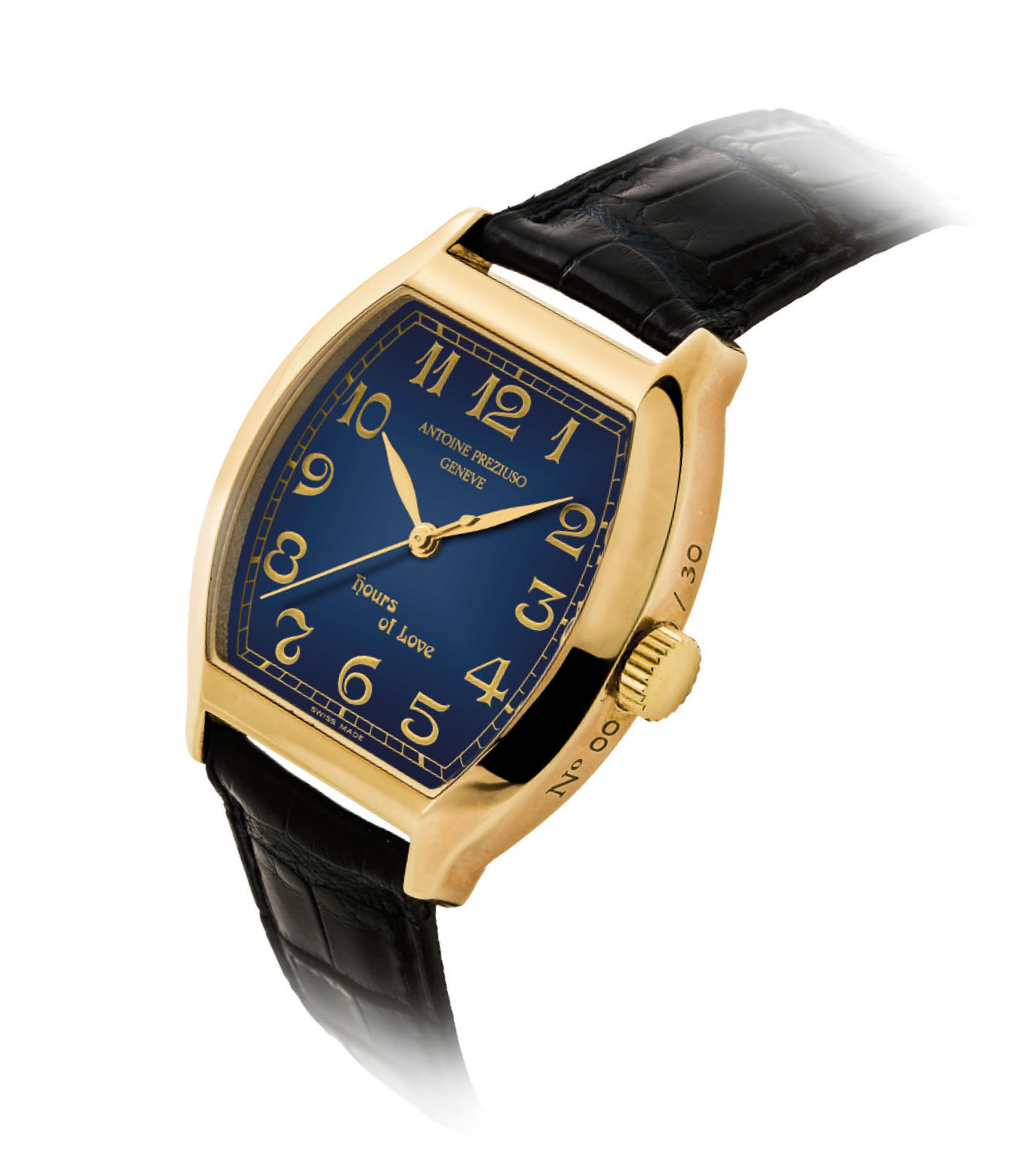 ANTOINE PREZIUSO. AN 18K GOLD LIMITED EDITION TONNEAU-SHAPED WRISTWATCH WITH SWEEP CENTRE SECONDS AND CONCEALED EROTIC AUTOMATON