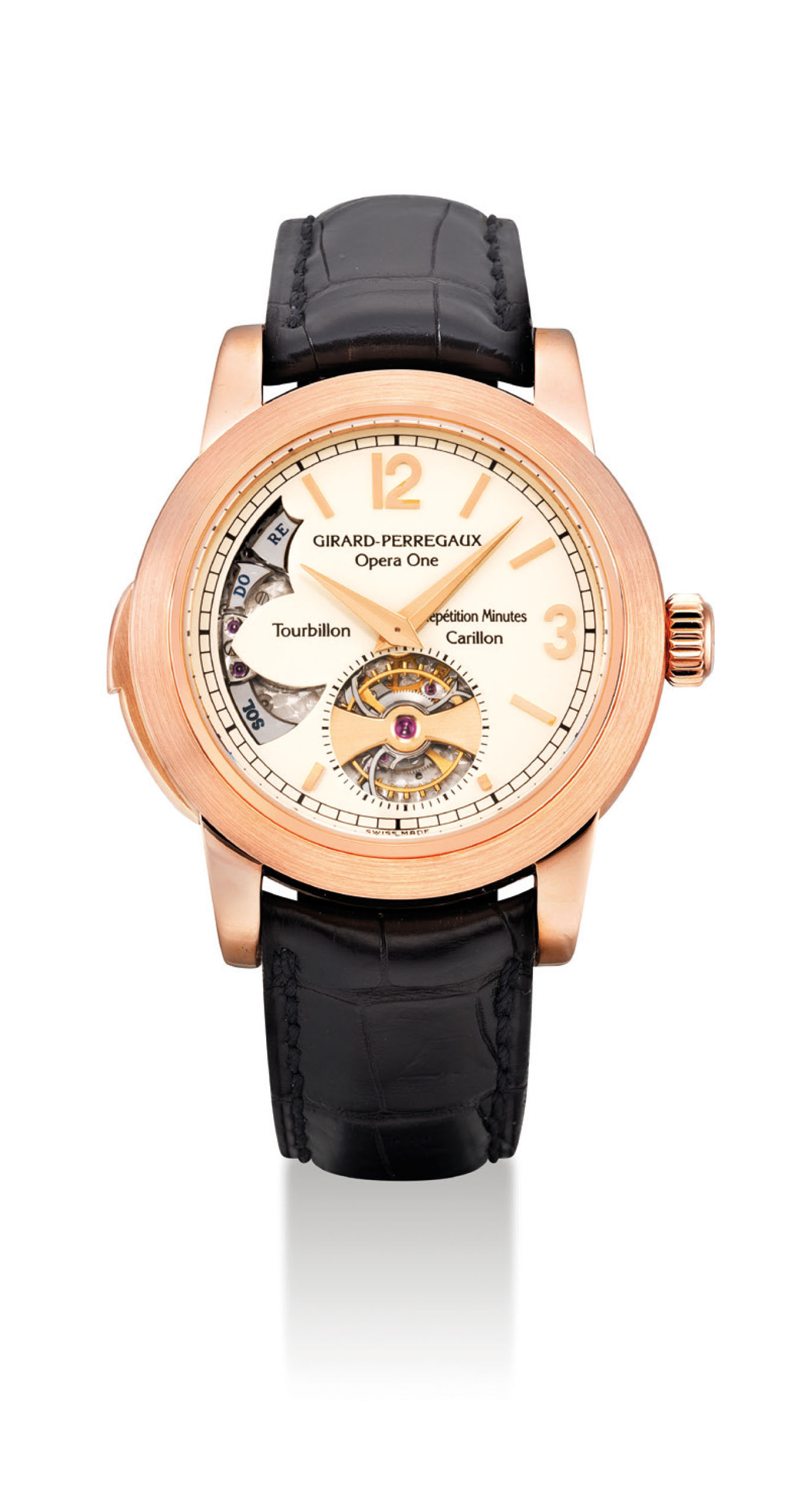 GIRARD-PERREGAUX. AN IMPORTANT AND VERY FINE 18K PINK GOLD MINUTE REPEATING TOURBILLON WRISTWATCH WITH WESTMINSTER CARILLON CHIME