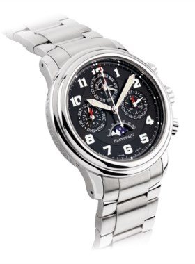 BLANCPAIN A STAINLESS STEEL AUTOMATIC PERPETUAL CALENDAR FLYBACK CHRONOGRAPH WRI