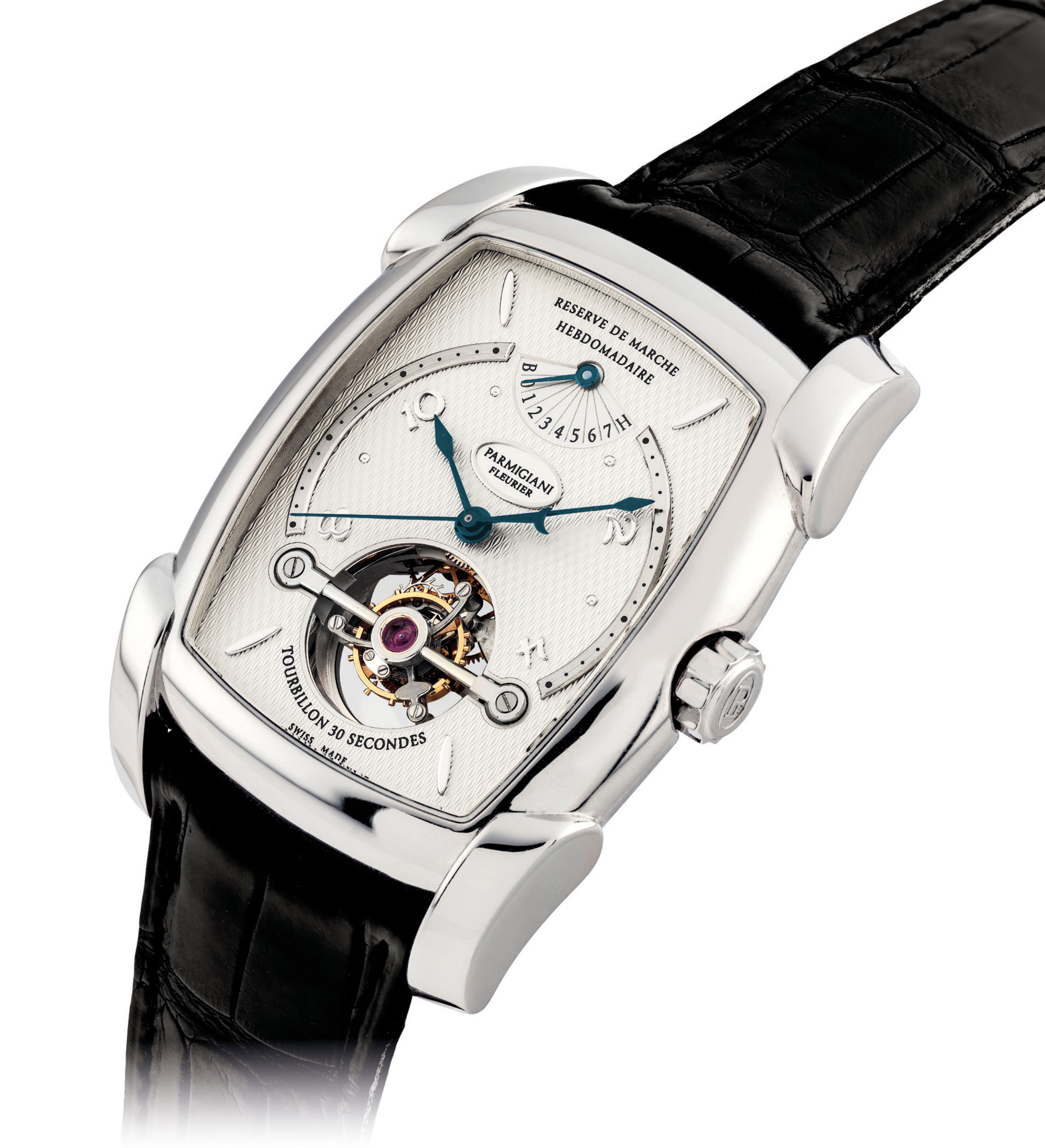 PARMIGIANI. A FINE AND EXTREMELY RARE PLATINUM LIMITED EDITION 30-SECOND TOURBILLON WRISTWATCH WITH SWEEP CENTRE SECONDS AND 7-DAY POWER RESERVE