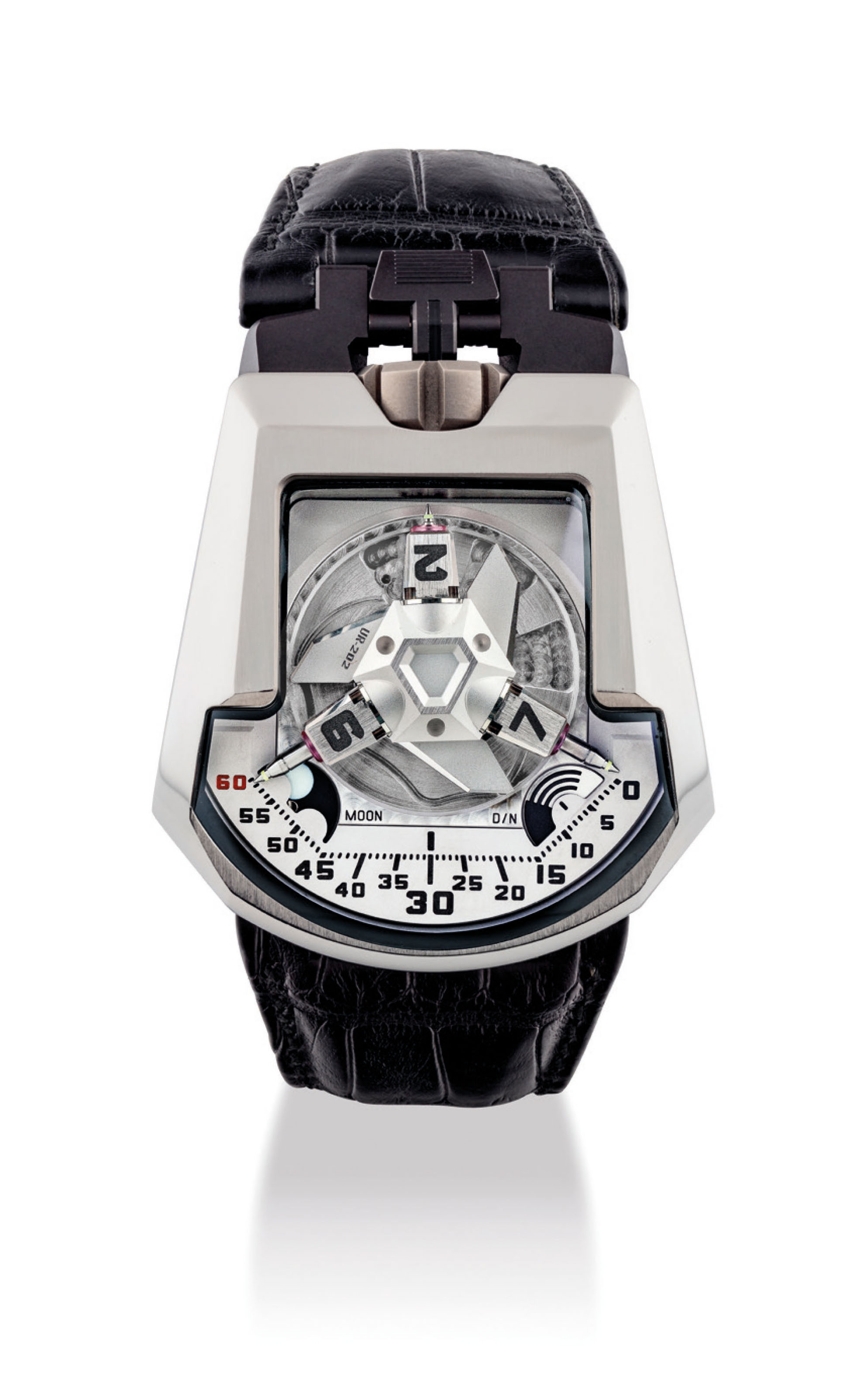 URWERK. A RARE AND UNUSUAL 18K WHITE GOLD AND TITANIUM AUTOMATIC WRISTWATCH WITH 3-DIMENSIONAL SATELLITE HOUR DISPLAY, TELESCOPIC MINUTE HAND, DAY/NIGHT INDICATOR AND MOON PHASES