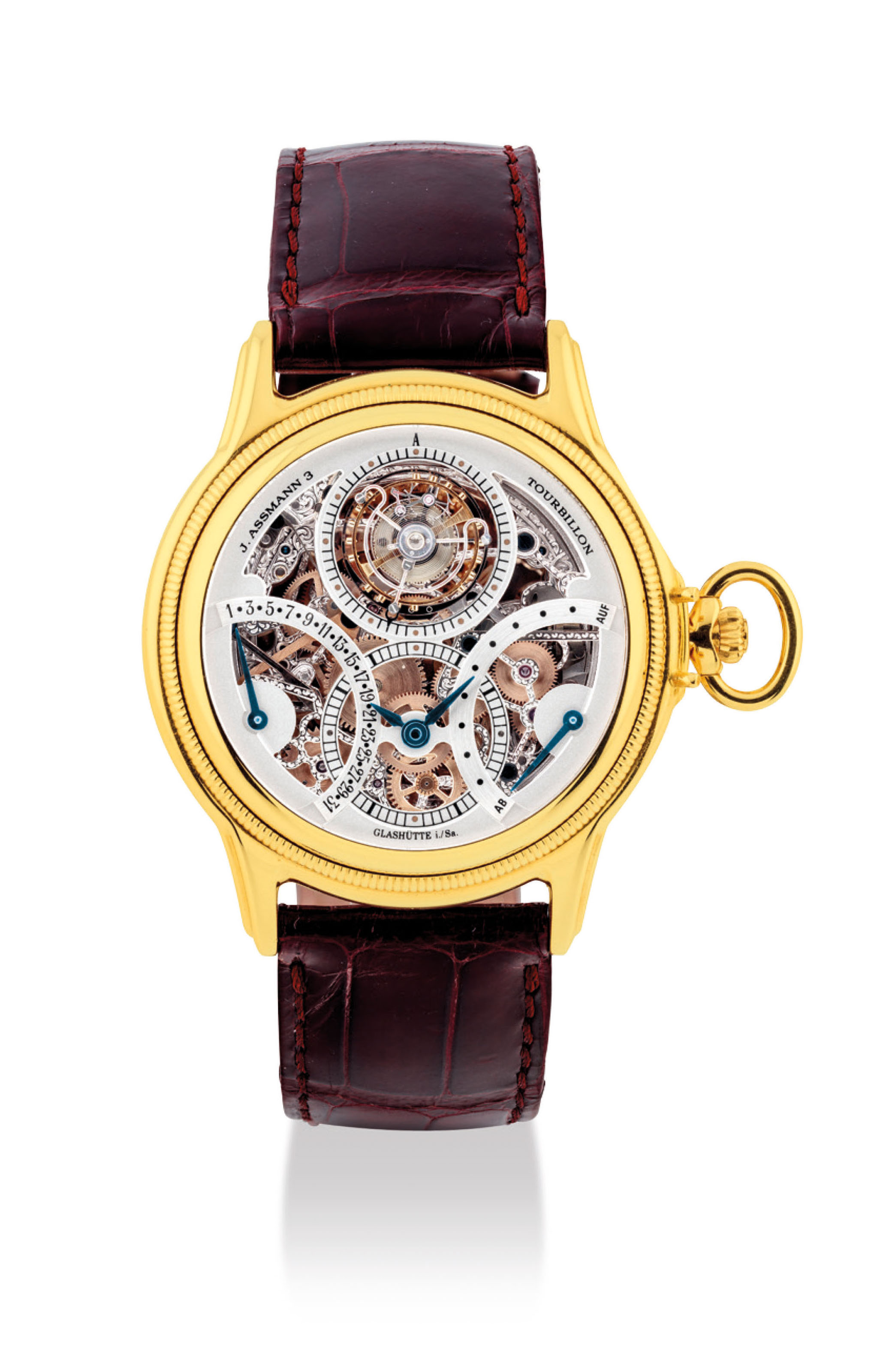 GLASHÜTTE ORIGINAL. A VERY FINE AND RARE 18K PINK GOLD CONVERTIBLE LIMITED EDITION SKELETONISED TOURBILLON WATCH WITH DATE AND POWER RESERVE