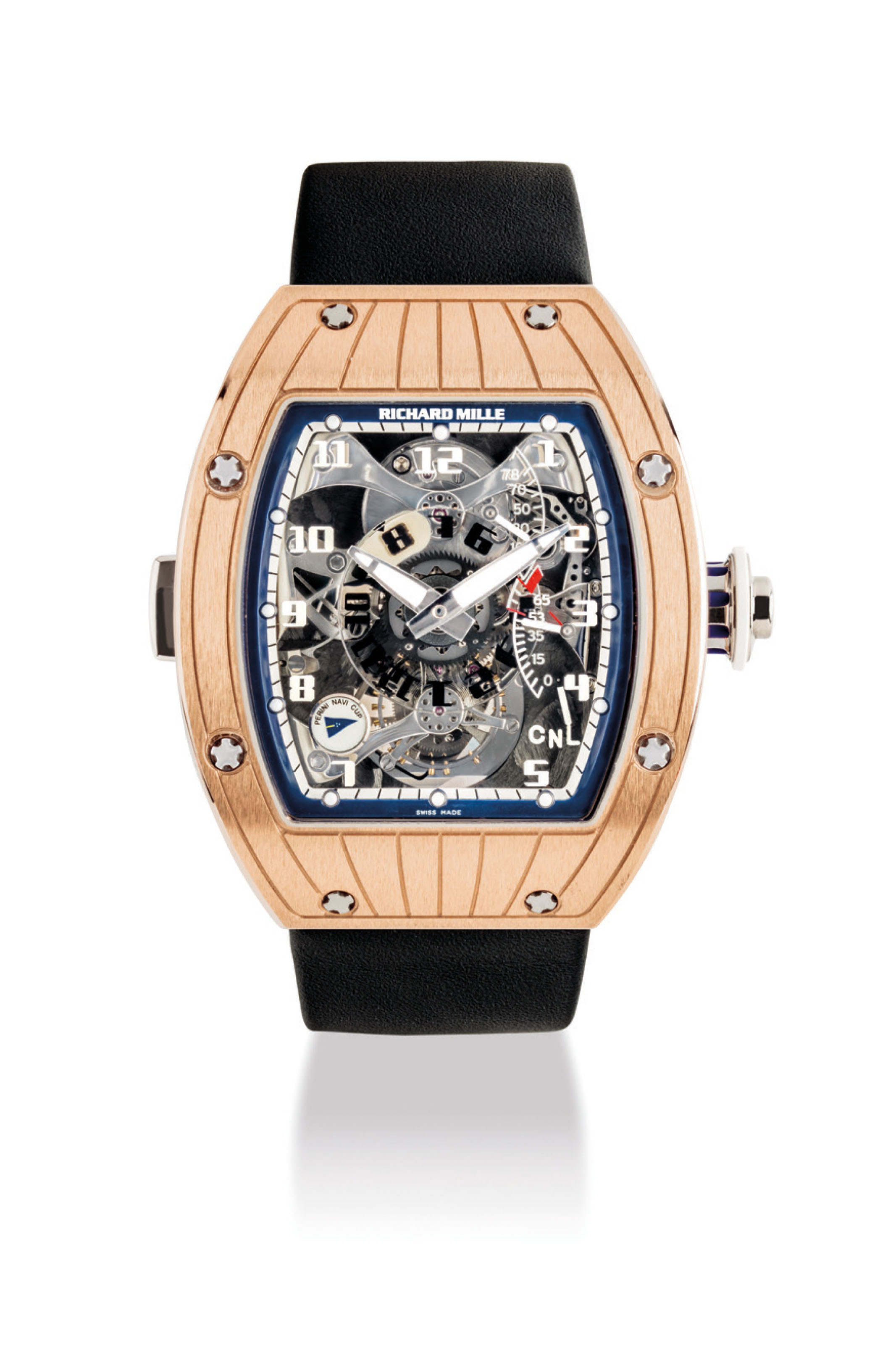 RICHARD MILLE. A FINE AND VERY RARE 18K PINK GOLD DUAL TIME TOURBILLON WRISTWATCH WITH POWER RESERVE