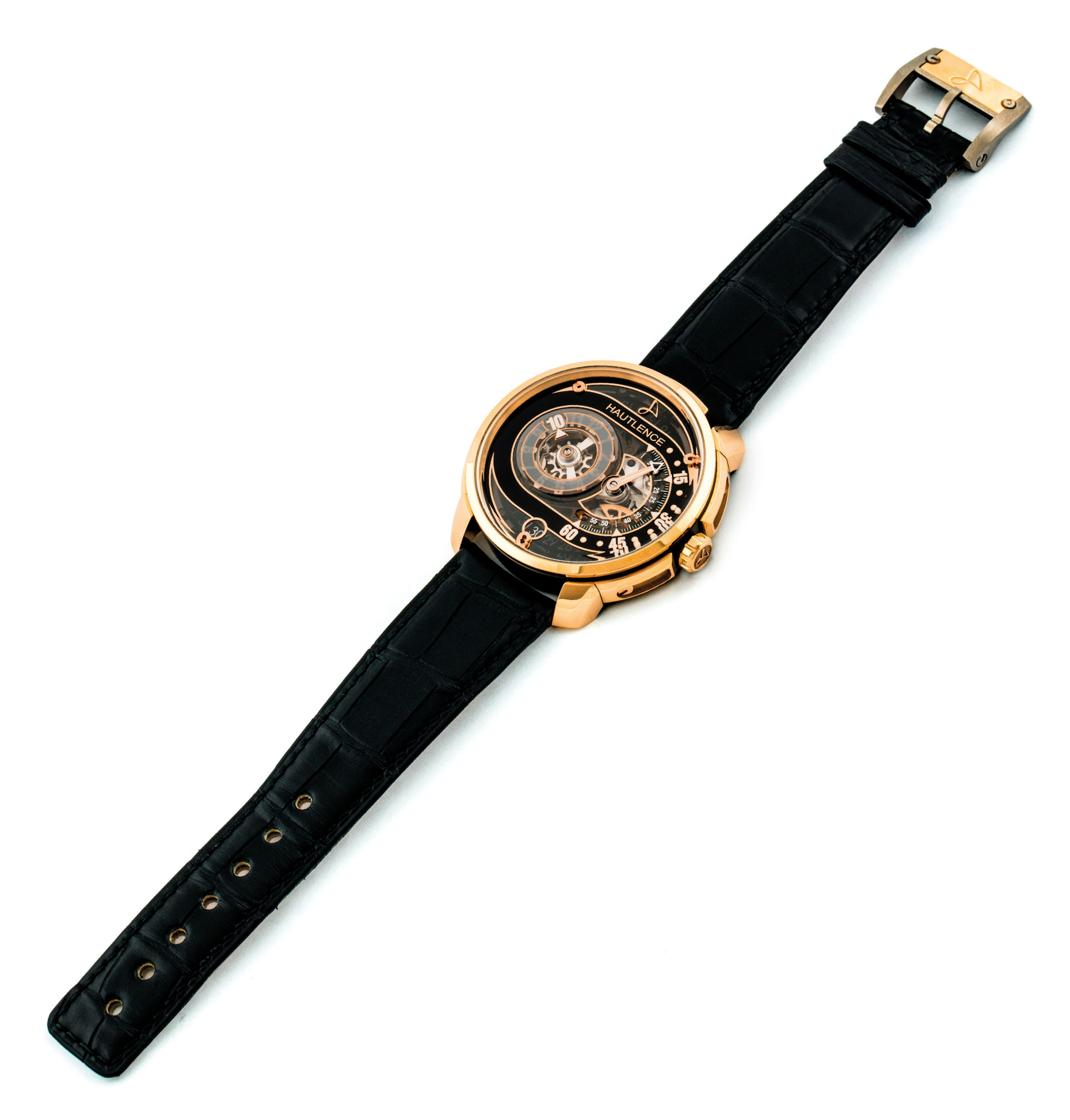 HAUTLENCE. AN 18K PINK GOLD AND DLC COATED TITANIUN SKELETONISED JUMP HOUR WRISTWATCH WITH RETROGRADE MINUTES AND DATE