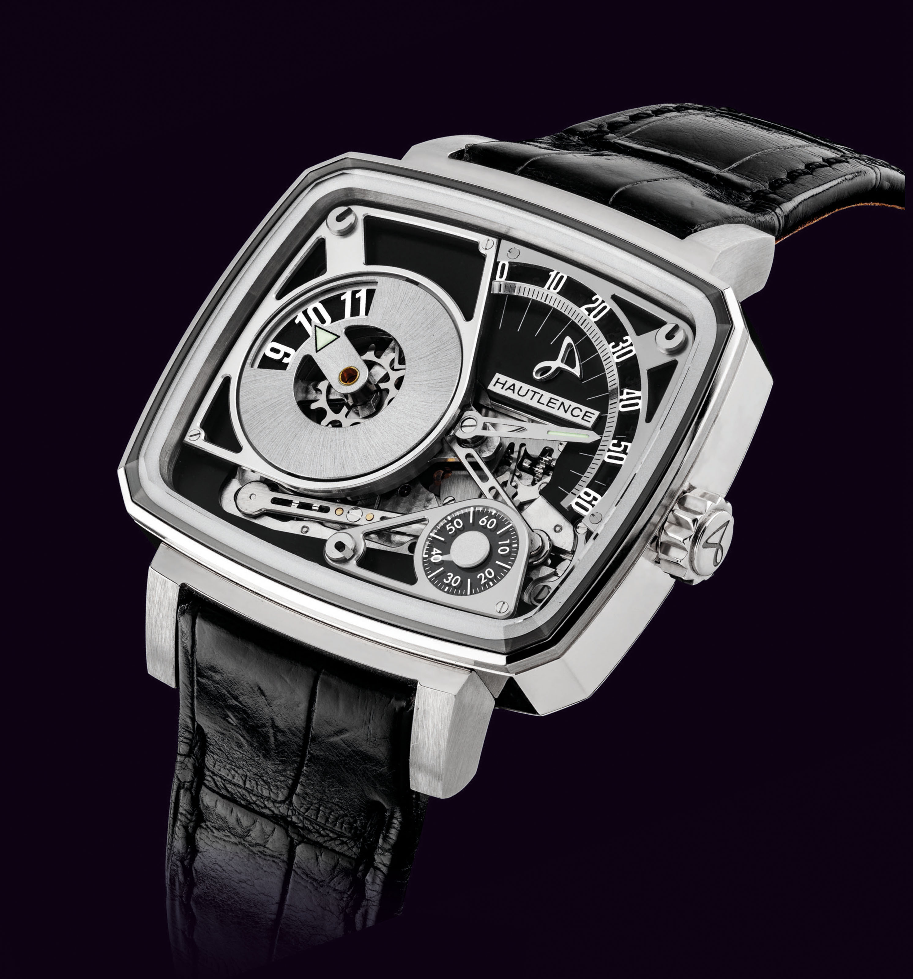 HAUTLENCE. AN 18K WHITE GOLD LIMITED EDITION SKELETONISED JUMP HOUR WRISTWATCH WITH RETROGRADE MINUTES