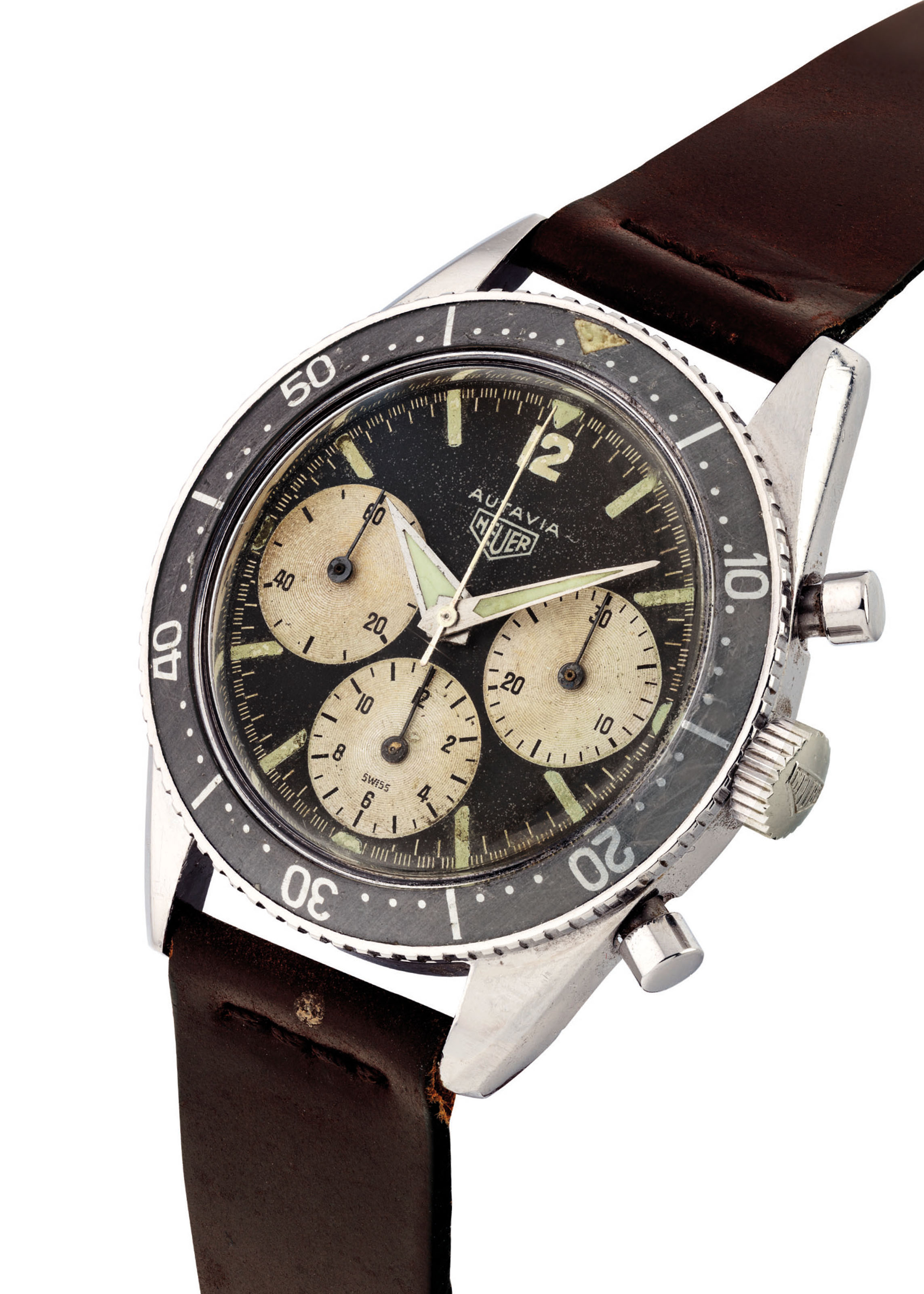 HEUER. AN EXTREMELY RARE STAINLESS STEEL CHRONOGRAPH WRISTWATCH