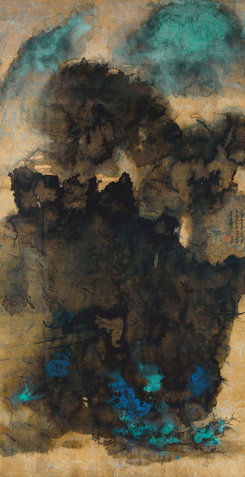 Zhang Daqian (1899-1983), Ancient Temples Amidst Clouds, 1965. Scroll, mounted and framed, ink and colour on gold paper. 172 x 89.5 cm (67¾ x 35¼ in). Sold for HK$102,460,000  $13,212,699 in Resplendent and Glorious — Ancient Temples Amidst Clouds previously from the Mei Yun Tang Collection  on 30 May 2017 at Christie's in Hong Kong