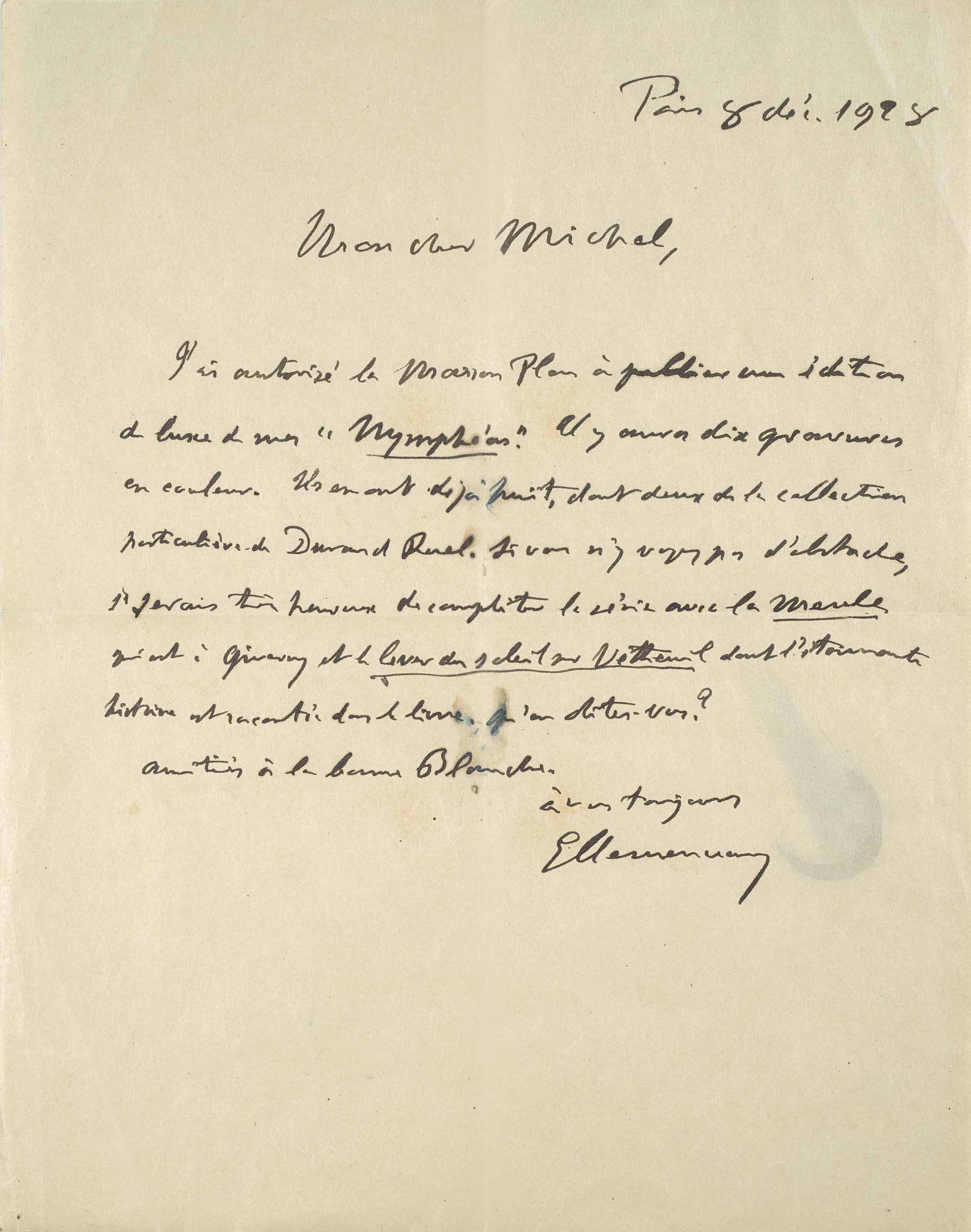 Autograph letter signed ('GClemenceau') to 'Michel' [Monet], Paris, 8 December 1928.