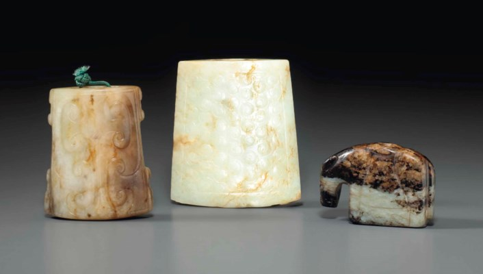 TWO PALE GREYISH-WHITE JADE SW