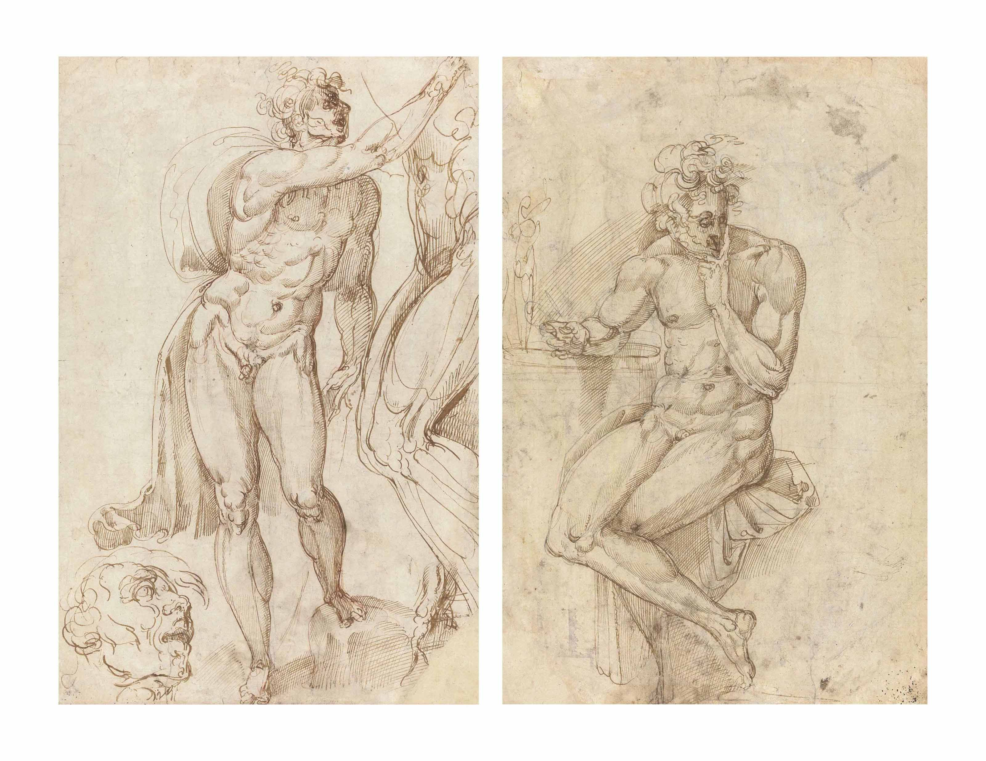 Two male nudes seen from the front and side, with a subsidiary study of the head of the complete figure (recto); A seated male nude leaning on a table (verso)