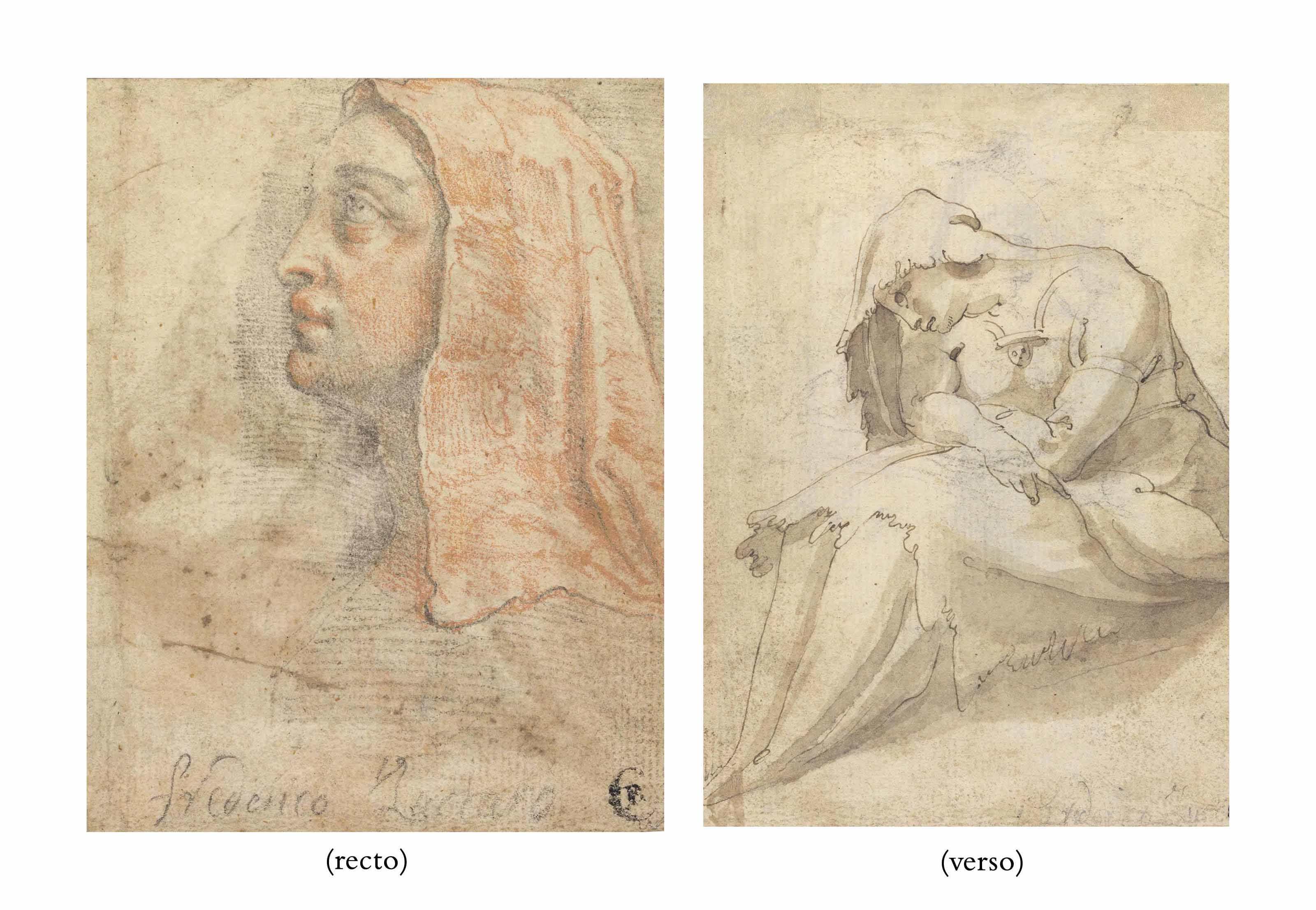 Head of a veiled woman in profile (recto); A seated woman (verso)