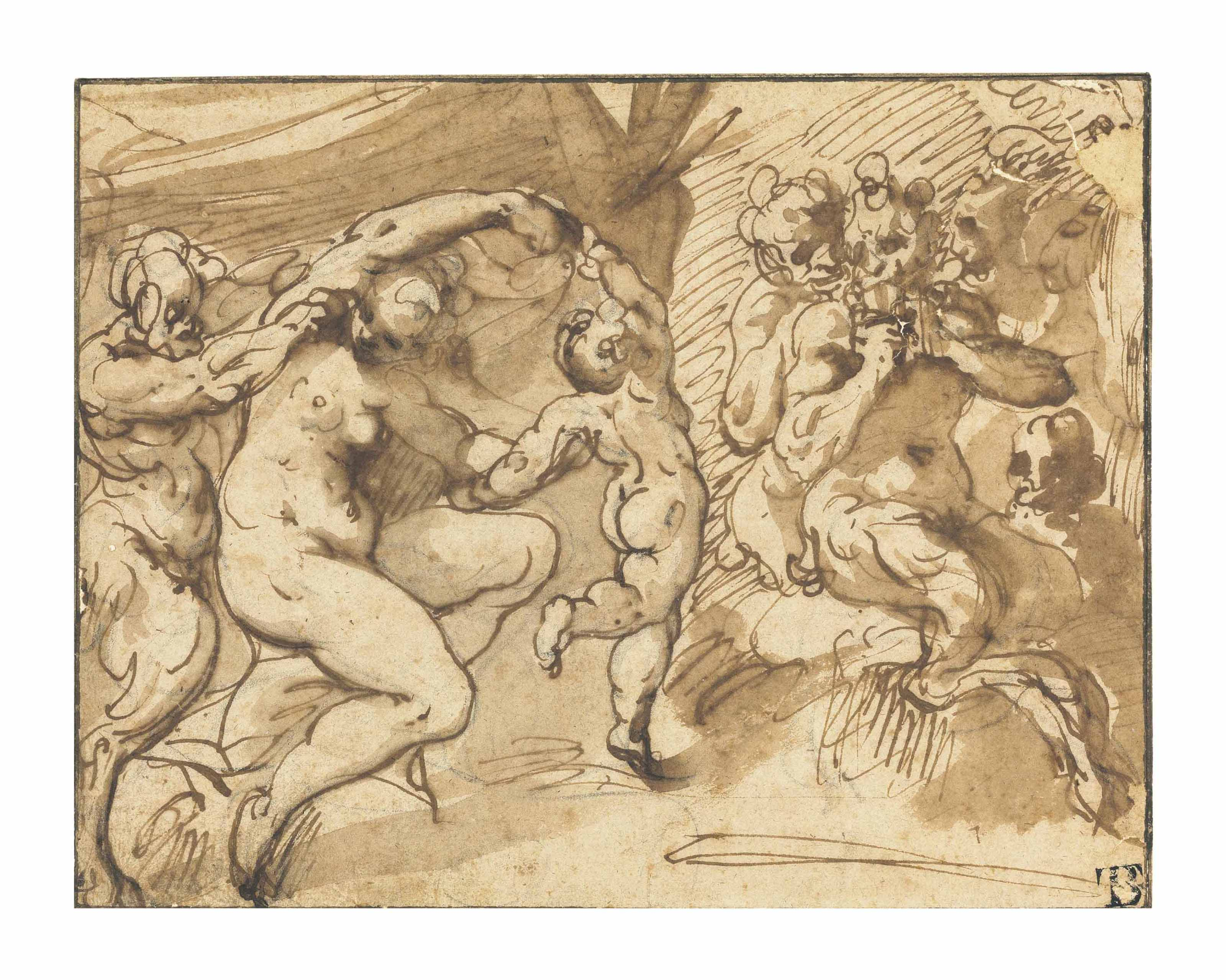 A bacchanal with Venus and Cupid, Pan playing his pipes with satyrs