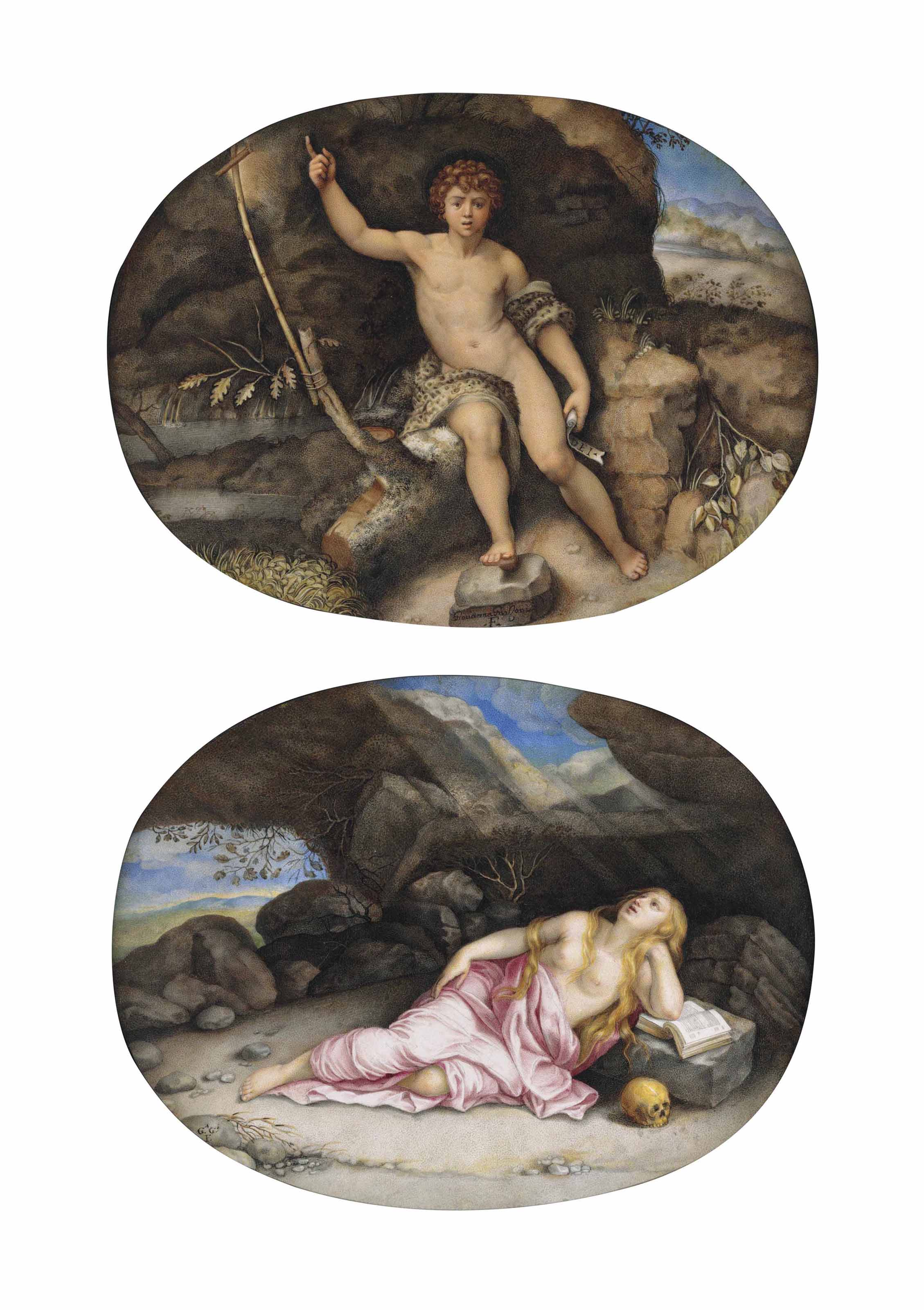 Saint John the Baptist in the Wilderness, after Raphael; and Mary Magdalen in the Desert, after Orazio Gentileschi