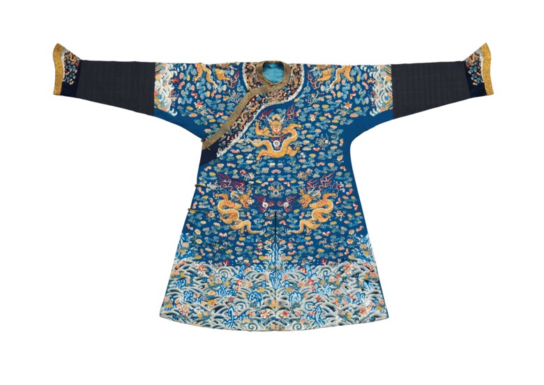 A finely embroidered blue silk dragon robe, mangpao, late 18th-early 19th century. 55 x 90¼  in (139.6 x 229.2  cm). Sold for $15,000 on 14-15 September 2017  at Christie's in New York