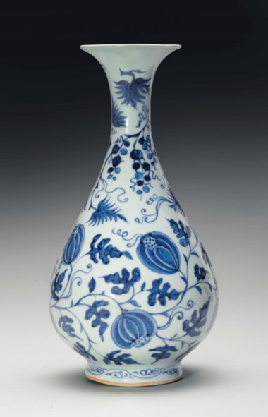 A very rare blue and white pear-shaped bottle vase, yuhuchunping, Yuan dynasty (1279-1368). 11¼  in (28.6  cm) high, purple silk stand. Sold for $612,500 on 14-15 September 2017  at Christie's in New York