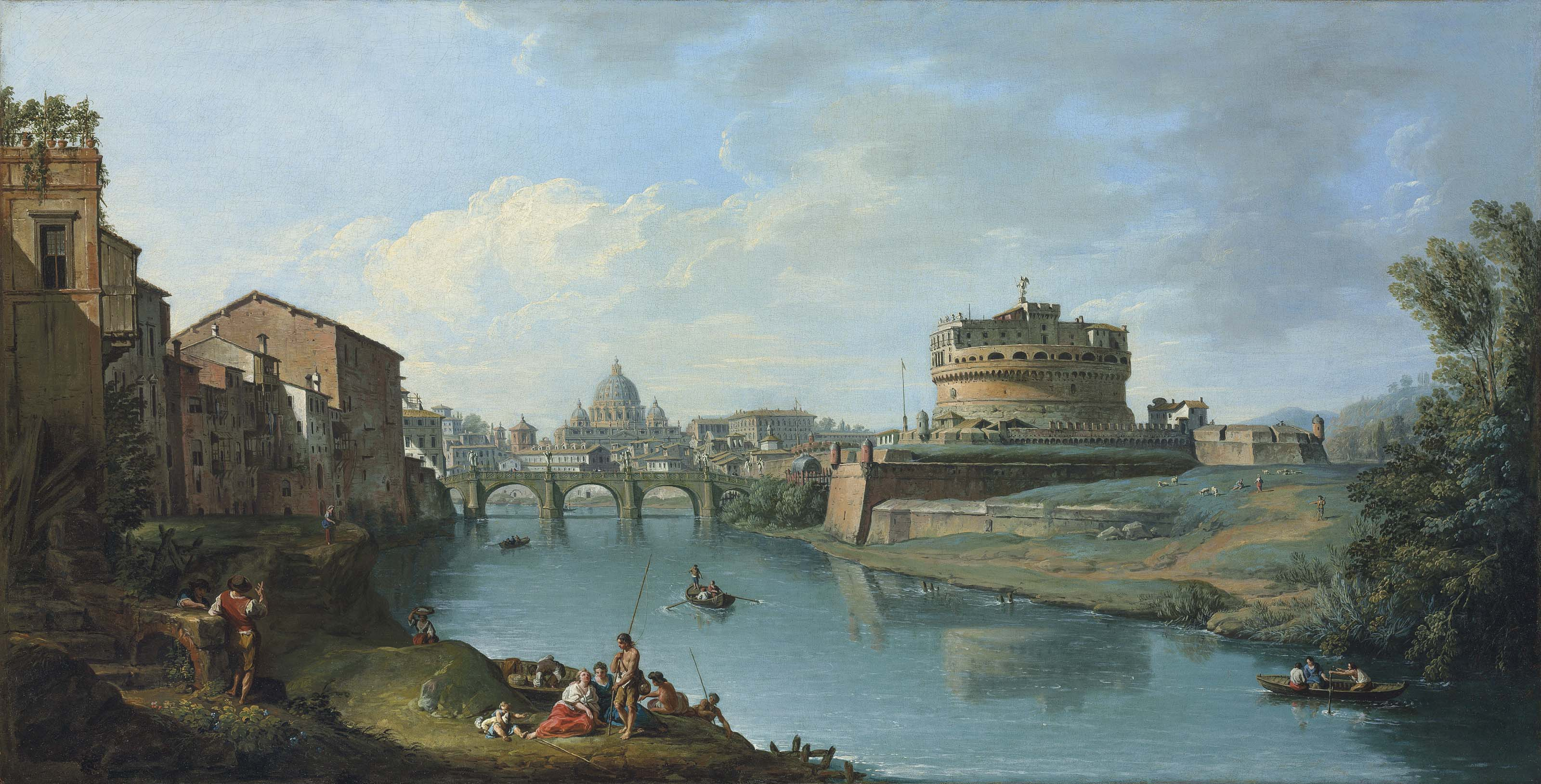 The Tiber River, Rome, looking towards the Castel Sant'Angelo, with Saint Peter's Basilica beyond