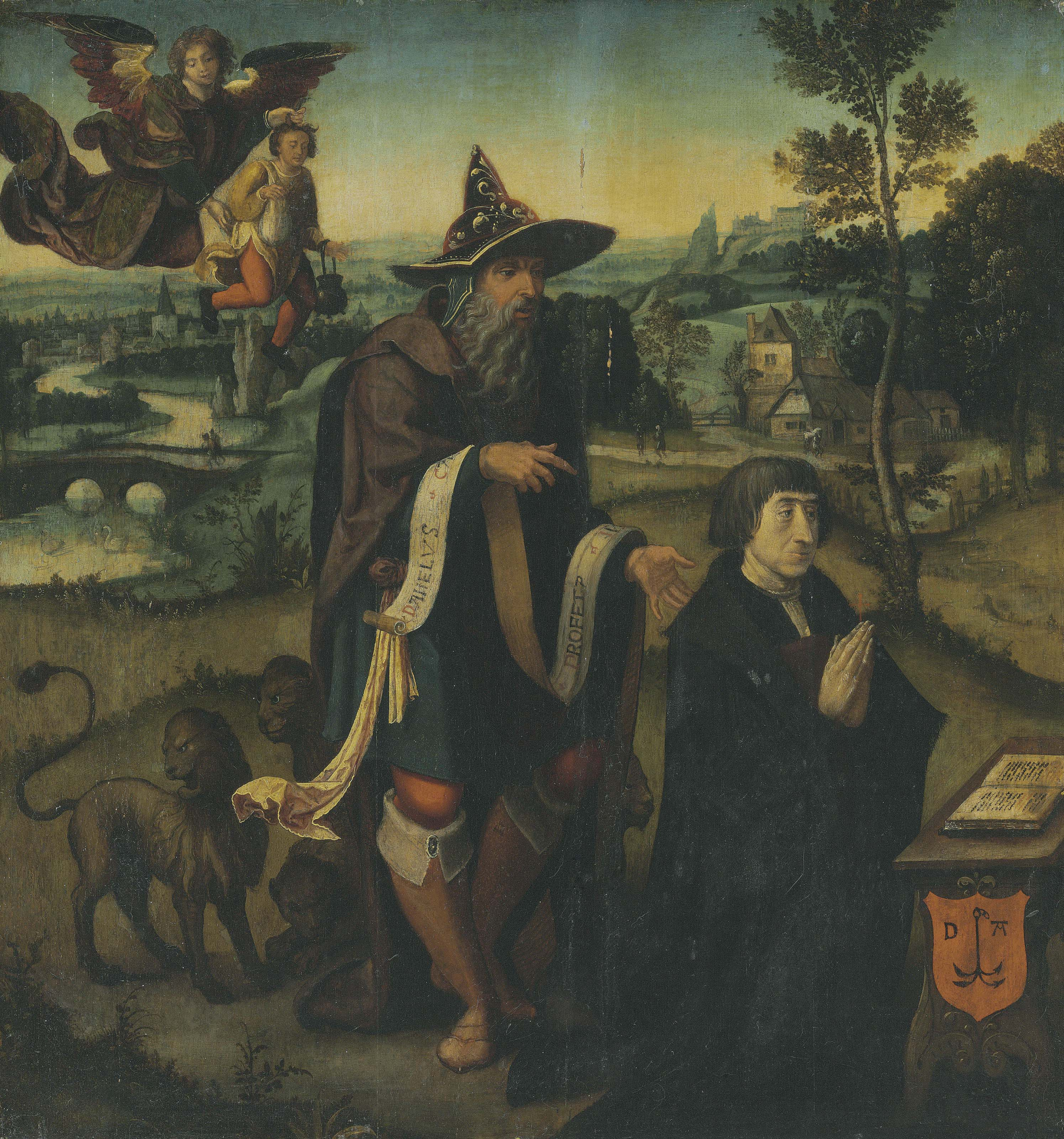 A donor praying with the Prophet Daniel, an angel carrying Habakkuk beyond