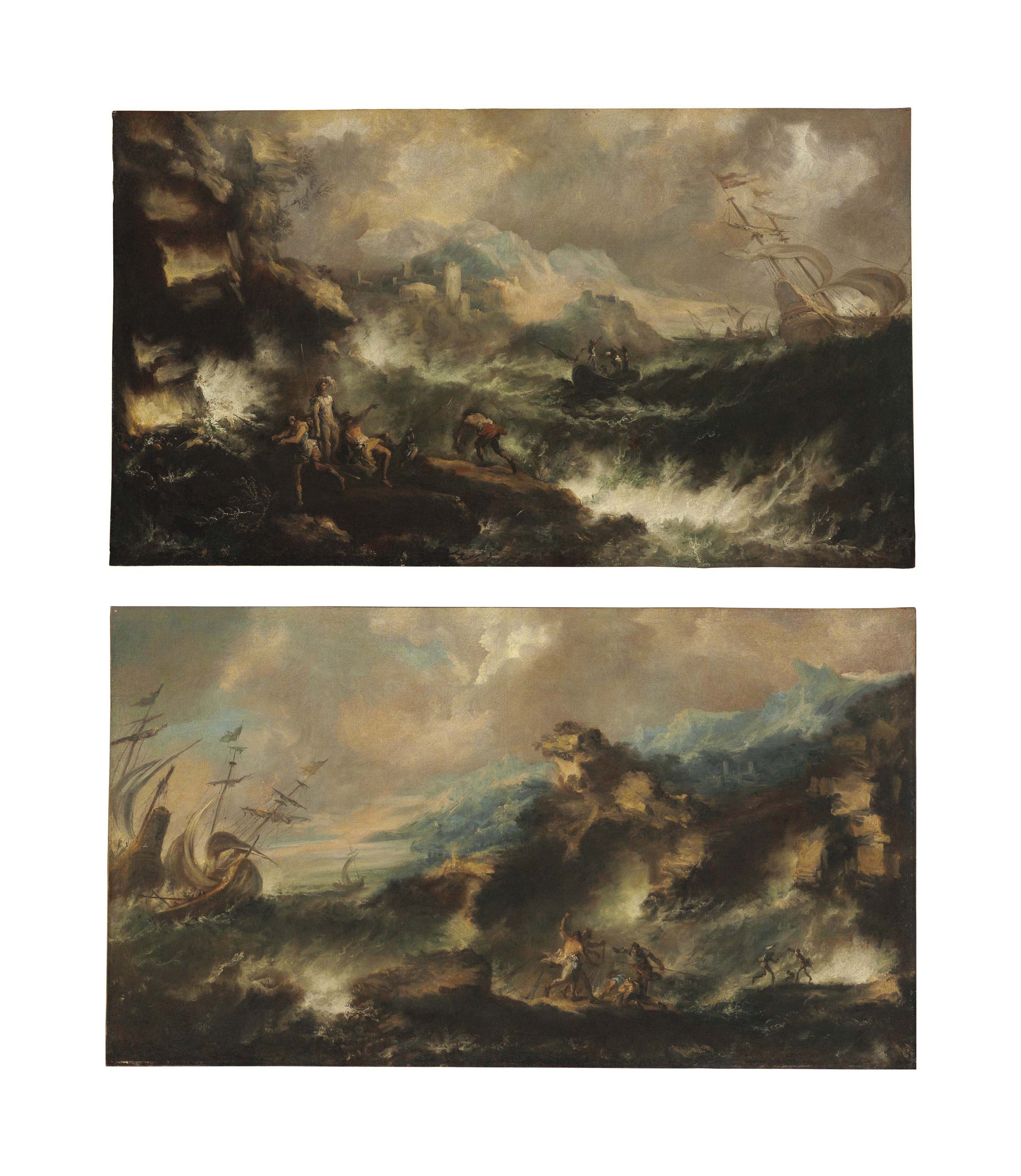 A shipwreck off a rocky coast with survivors on the shore, a fortified town beyond; and A shipwreck off a rocky coast with survivors on the shore