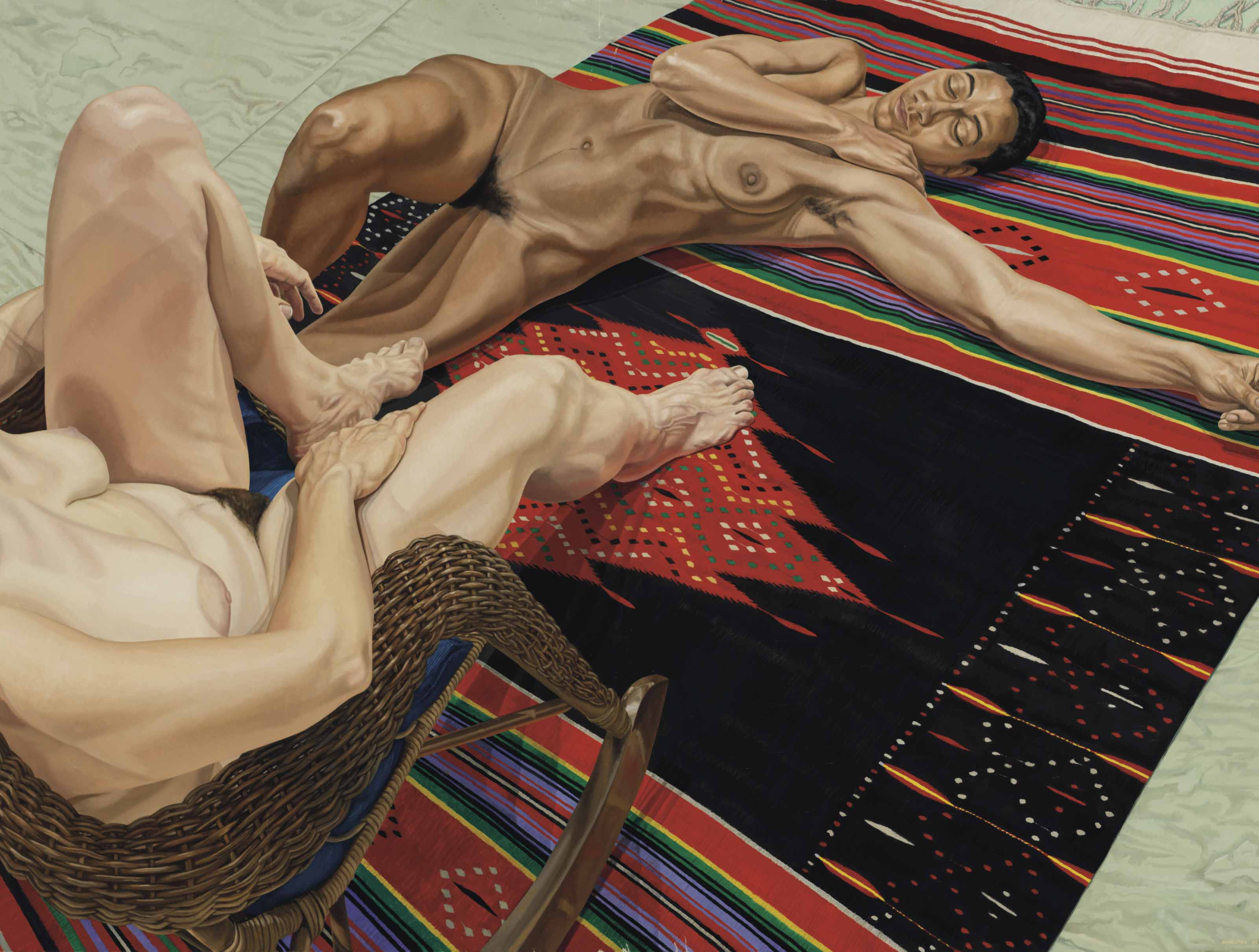 Two Models with Mexican Rug