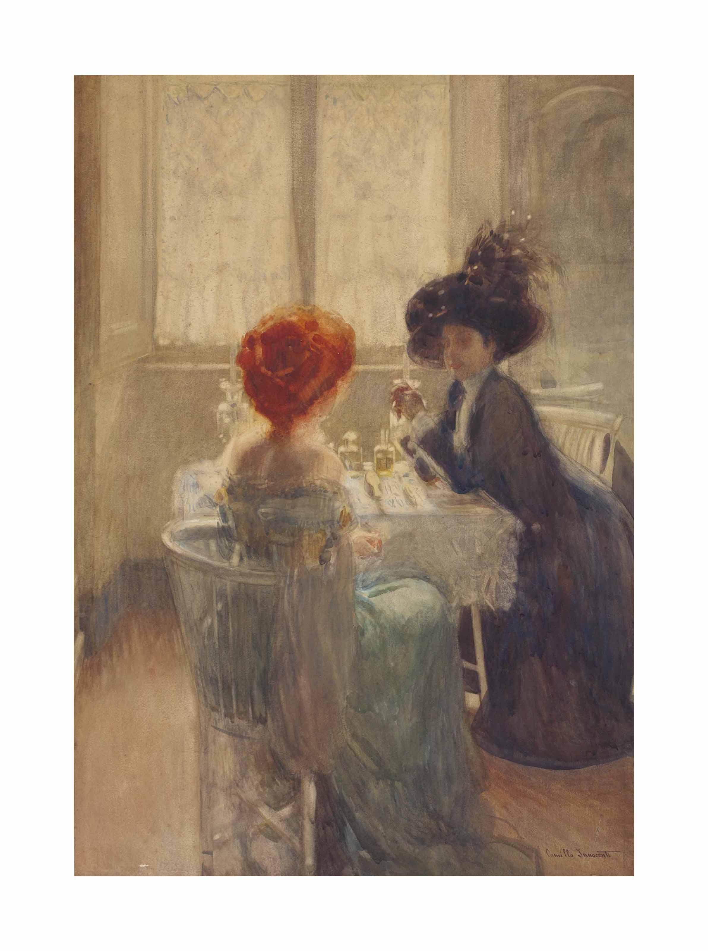 Two elegantly dressed ladies in a cafe