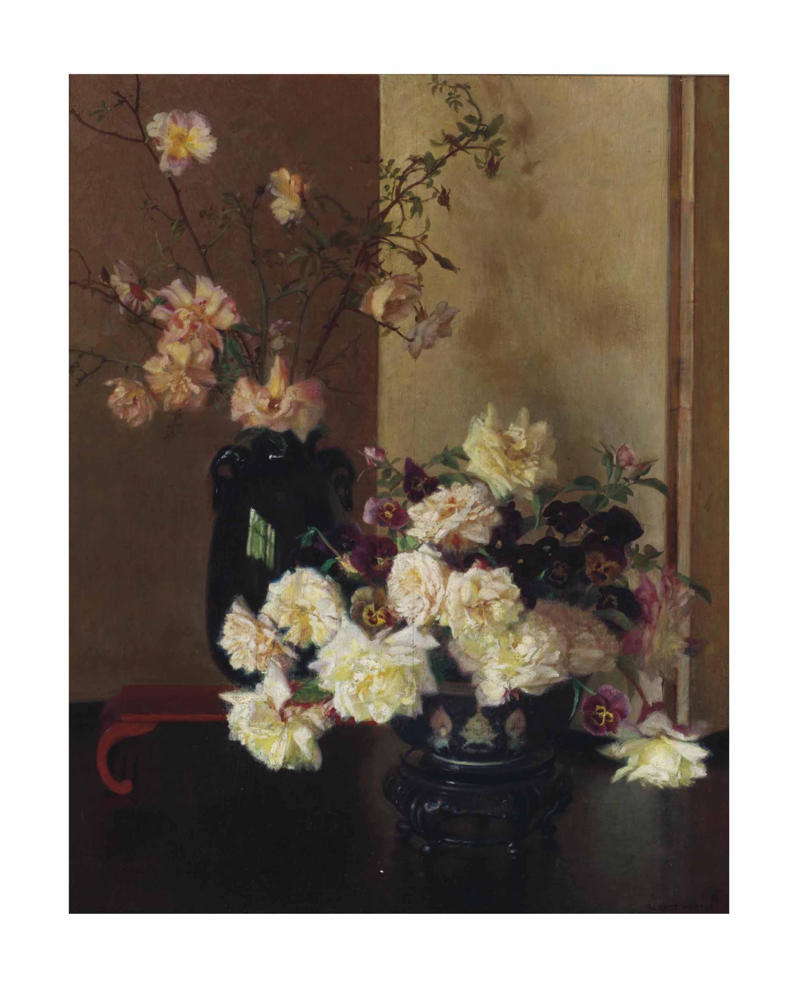 Still life with an ovoid vase, a famille rose punch bowl and roses