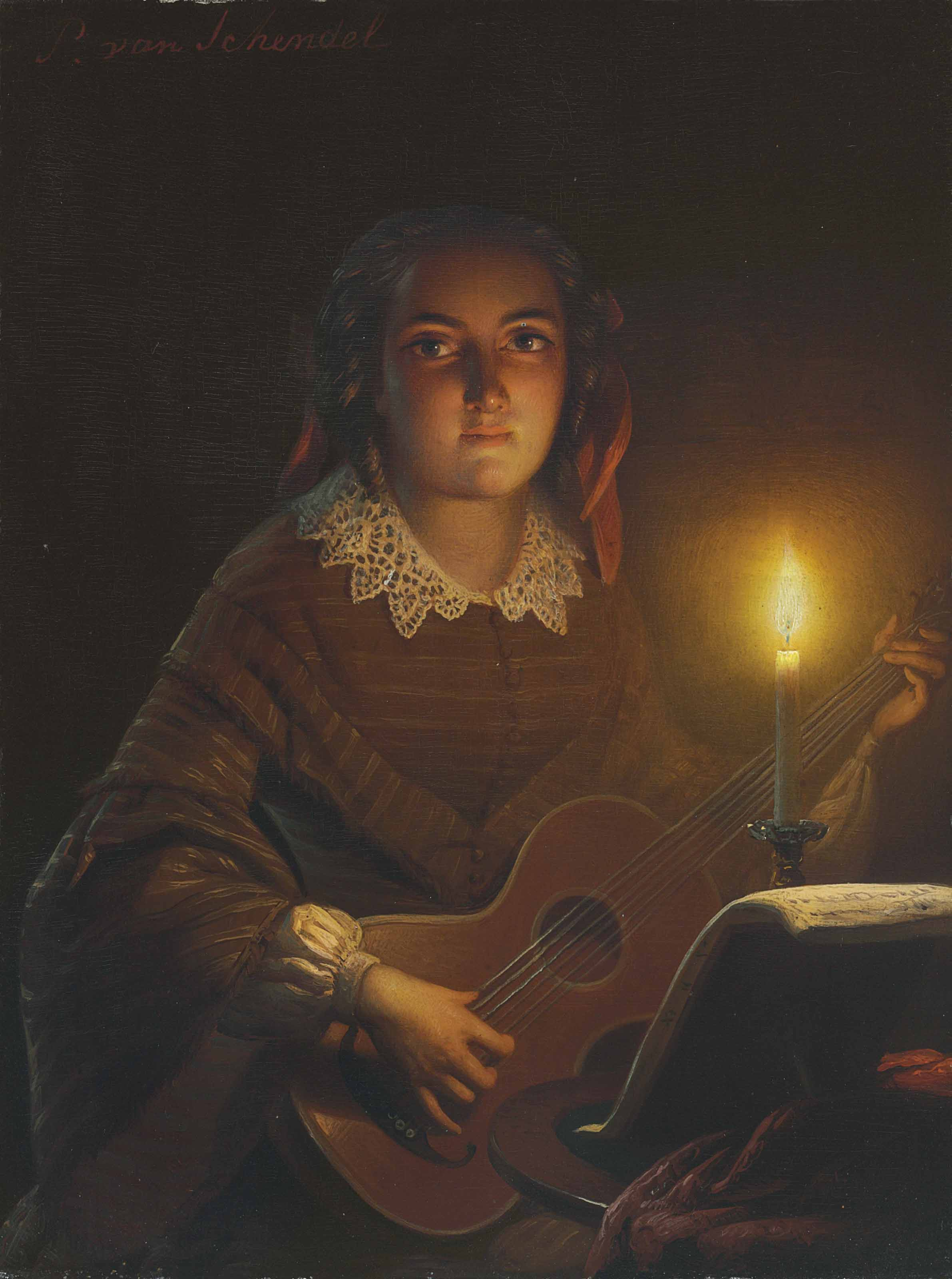 A Girl Playing a Guitar by Candlelight