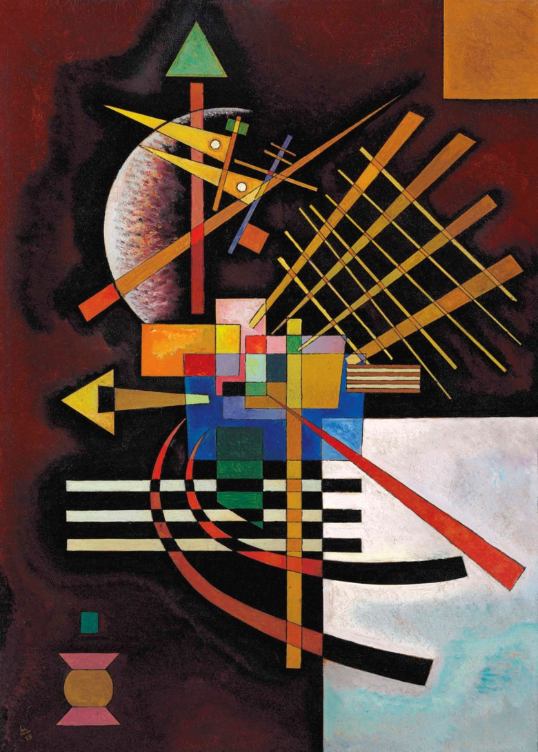 Wassily Kandinsky (1866-1944), Oben und links, painted in Weimar, March 1925. 27½ x 19⅝  in (69.9 x 49.8  cm). Sold for $8,311,500 on 15 May 2017  at Christie's in New York