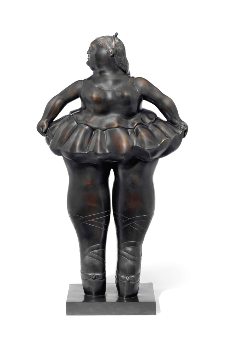 Fernando Botero (b. 1932), Ballerina. 36 x 19 ¾ x 12 ½  in (91.4 x 50.2 x 31.8  cm). Estimate $400,000-600,000. This lot is offered in Latin American Art on 21-22 November 2017  at Christie's in New York