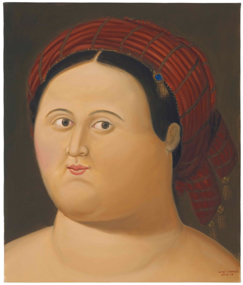 Fernando Botero (b. 1932), After Raphael, 2009. 30 x 25 ½  in (76.2 x 64.7  cm). Estimate $150,000-200,000. This lot is offered in Latin American Art on 21-22 November 2017  at Christie's in New York