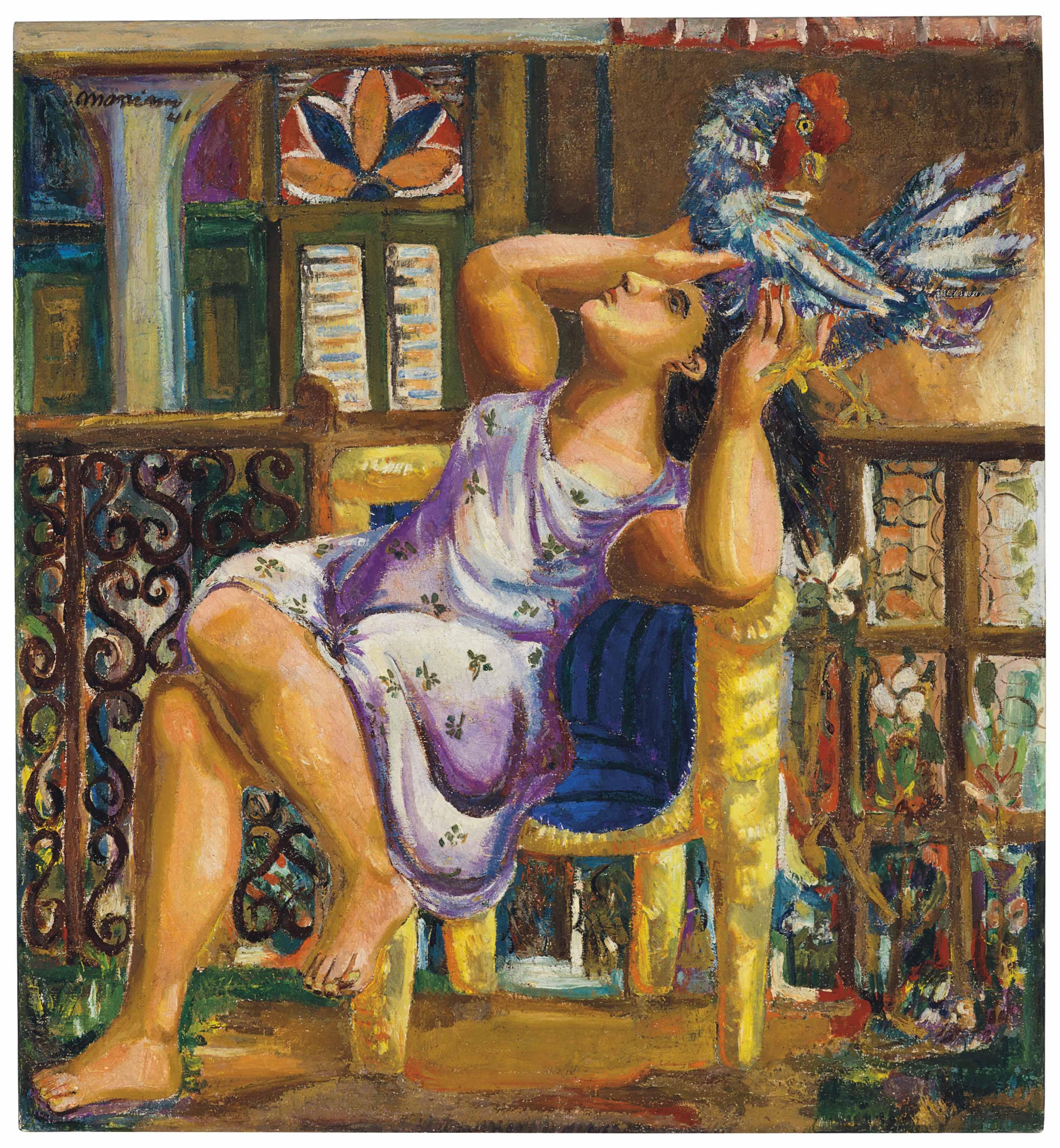 Mujer con gallo