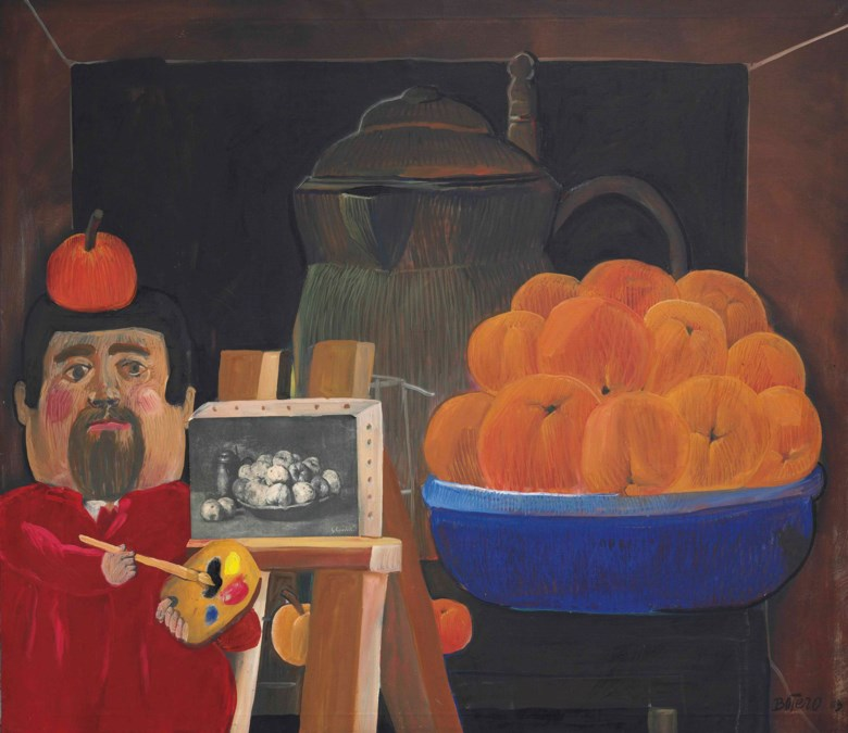 Fernando Botero (b. 1932), Self-Portrait with Still Life (After Courbet), 1963. 45 x 52  in (114.3 x 132.1  cm). Estimate $300,000-400,000. This lot is offered in Latin American Art on 21-22 November 2017  at Christie's in New York