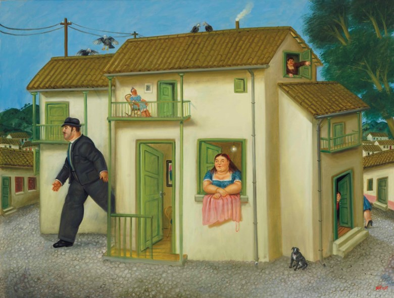 Fernando Botero (b. 1932), The House, 1995. 61 ½ x 46 ½  in (156.2 x 118.1  cm). Estimate $800,000-1,200,000. This lot is offered in Latin American Art on 21-22 November 2017  at Christie's in New York