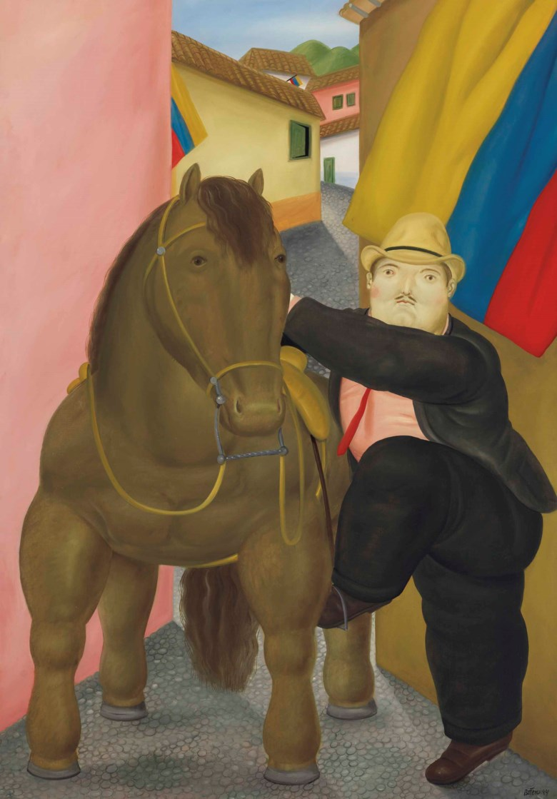 Fernando Botero (b. 1932), Man and Horse, 1984. 70 ¼ x 49⅜  in (178.4 x 125.3  cm). Estimate $600,000-800,000. This lot is offered in Latin American Art on 21-22 November 2017  at Christie's in New York