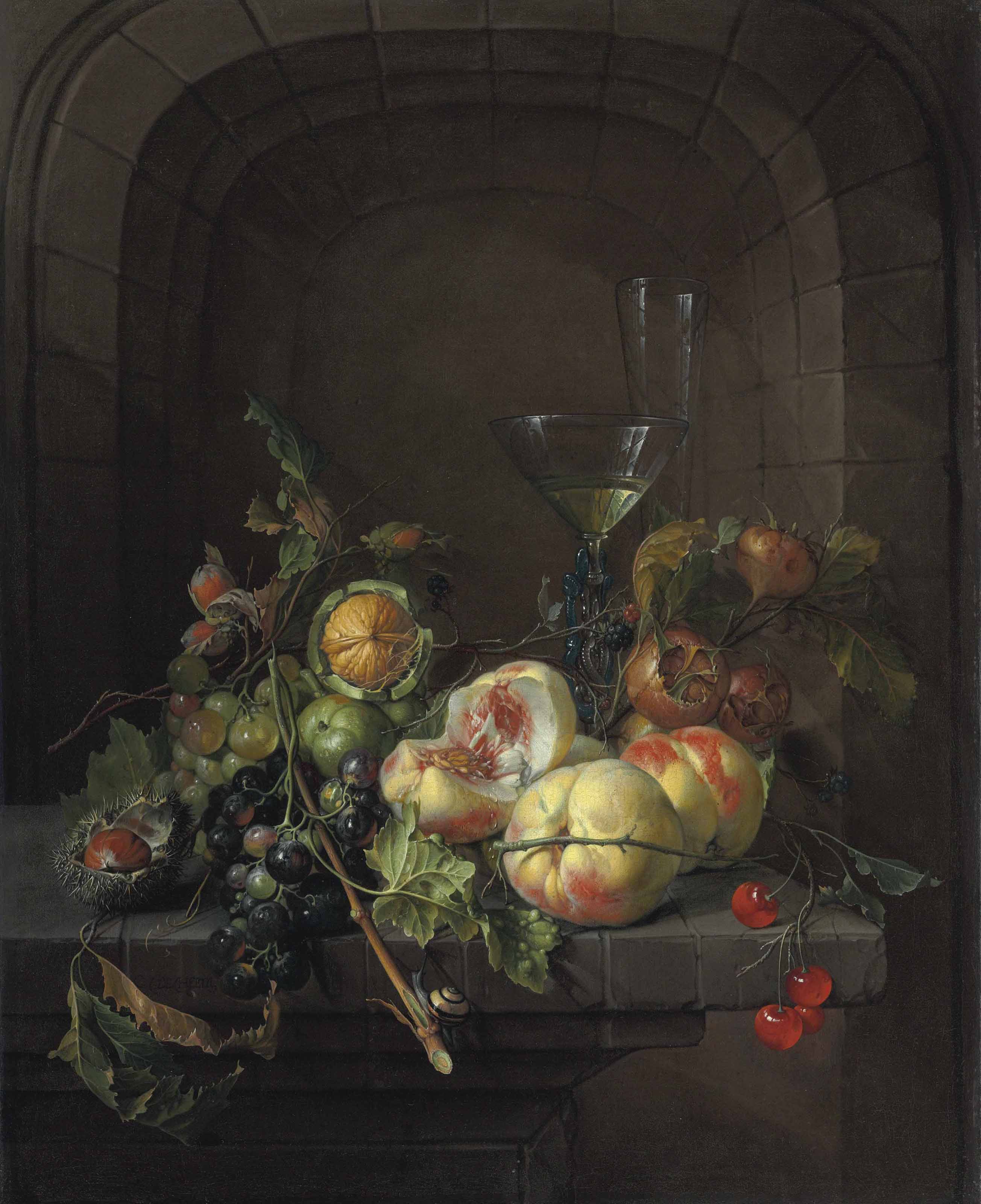 Peaches, grapes, medlars, walnuts, a hazelnut, cherries, and black raspberries with a snail, a façon de venise glass of wine, and a flute glass on a stone ledge before a niche